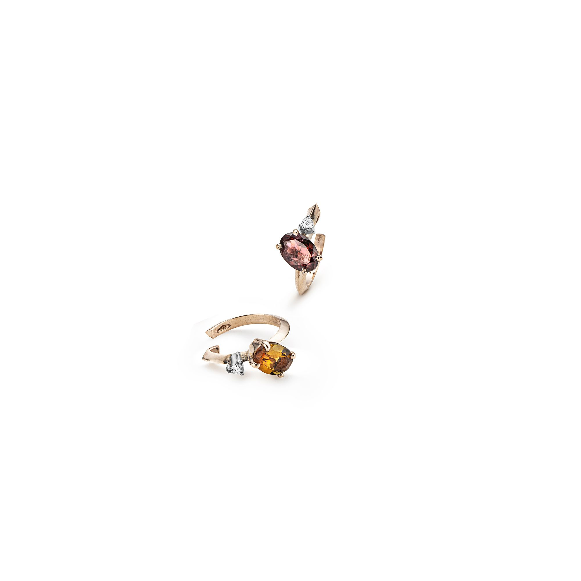 Tourmaline 'Balance' cuff earrings pair Set of two rose gold cartilage earrings with pink tourmaline and diamonds