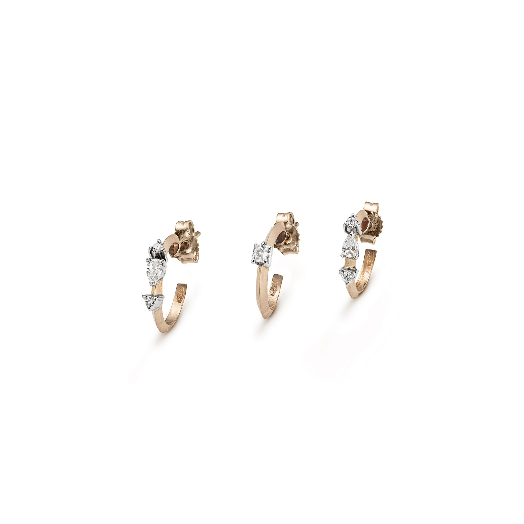 'Balance' set with diamonds Three rose gold hoop earrings with diamonds