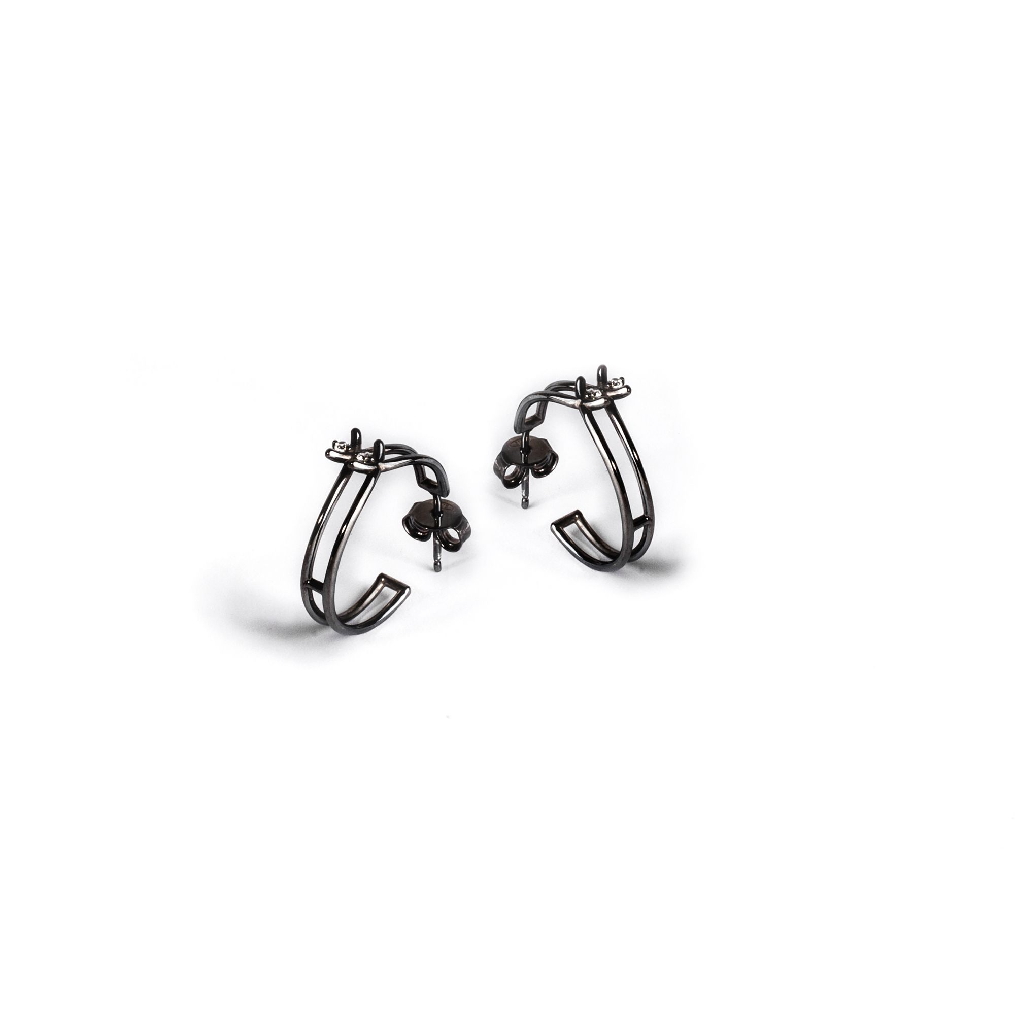 Double circle 'Spinae' earrings black rhodium plated silver earrings