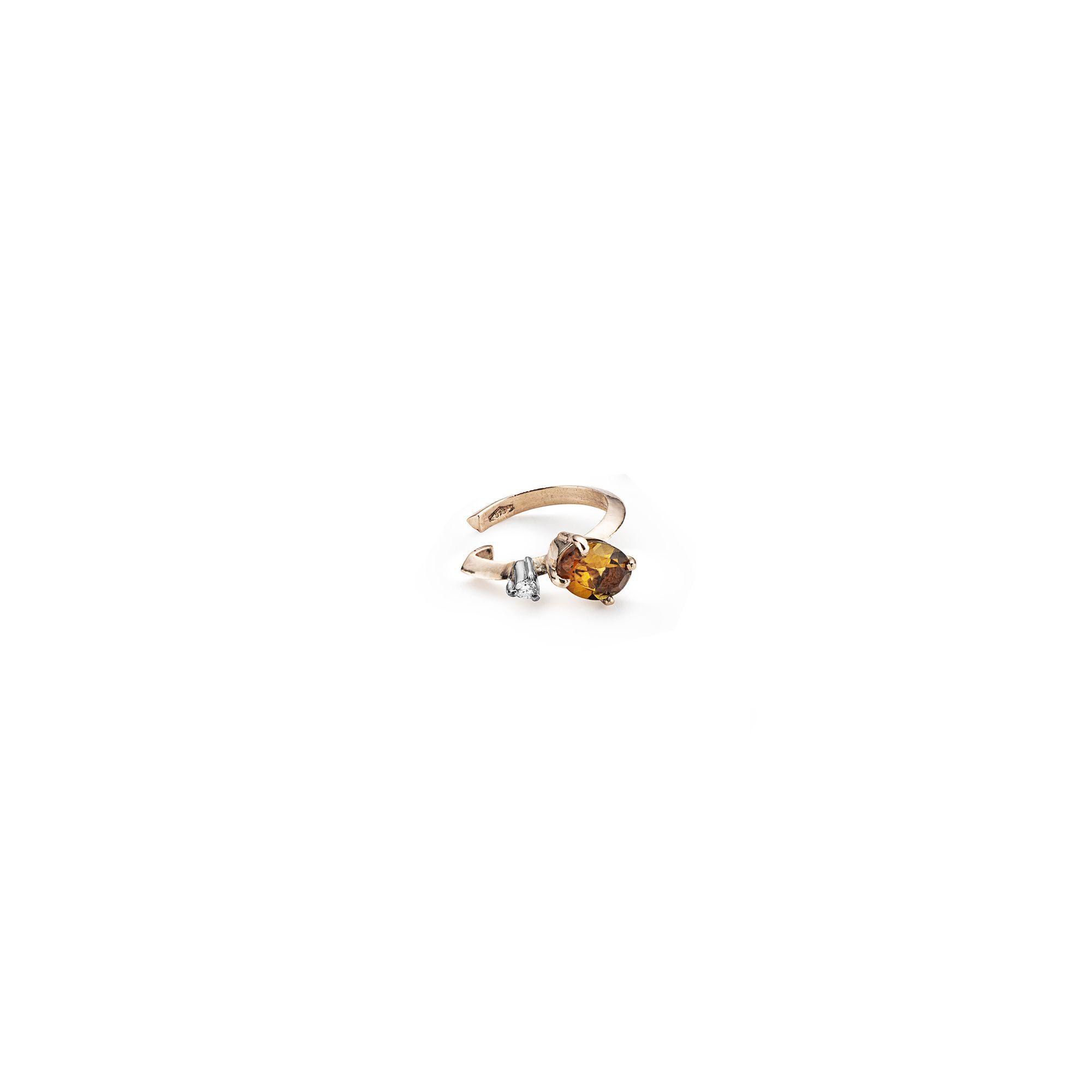 Tourmaline 'Balance' cuff earring Rose gold cartilage earring with orange tourmaline and diamonds