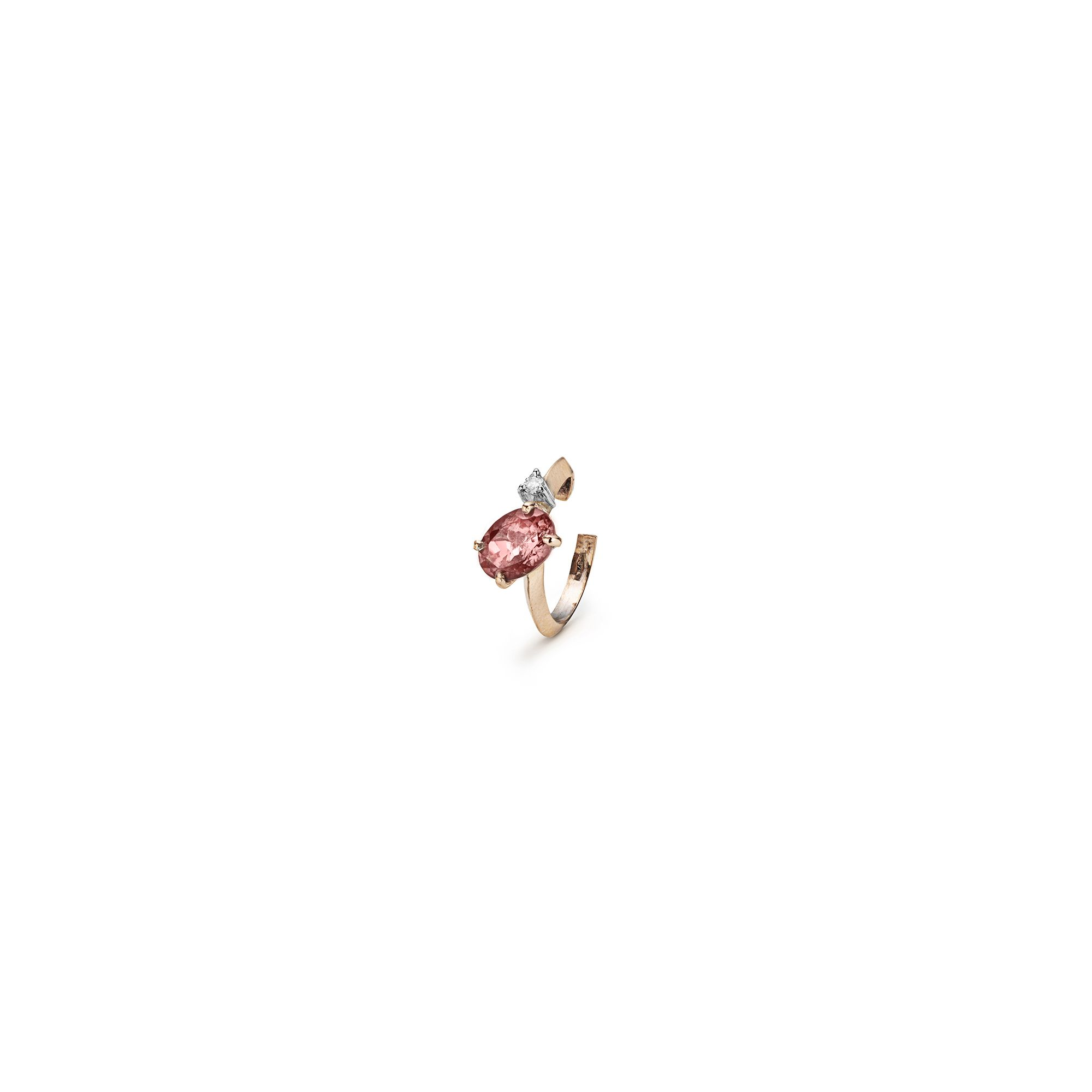Tourmaline 'Balance' cuff earring Rose gold cartilage earring with pink tourmaline and diamonds
