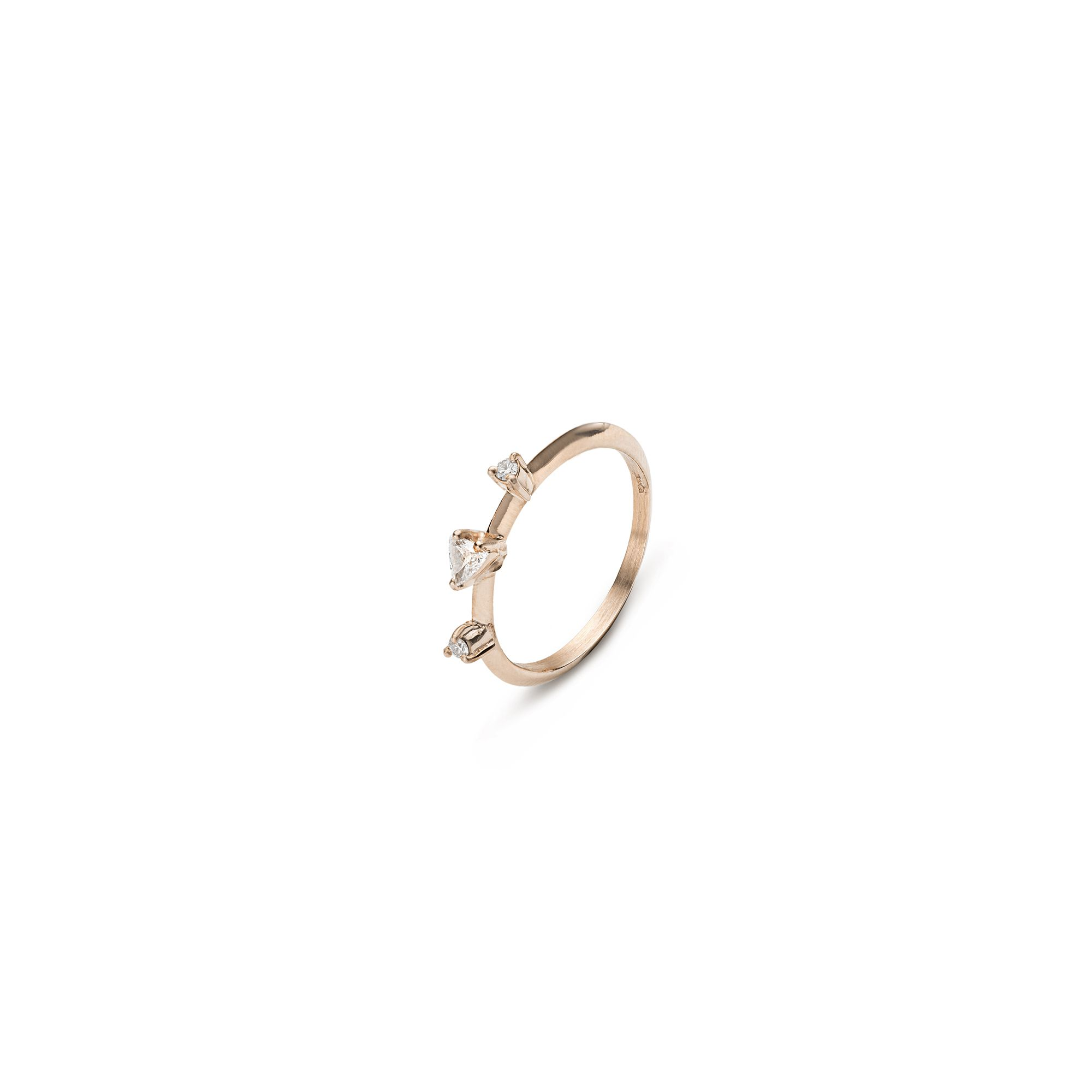 Triangle 'Balance' ring Rose gold ring with white diamonds