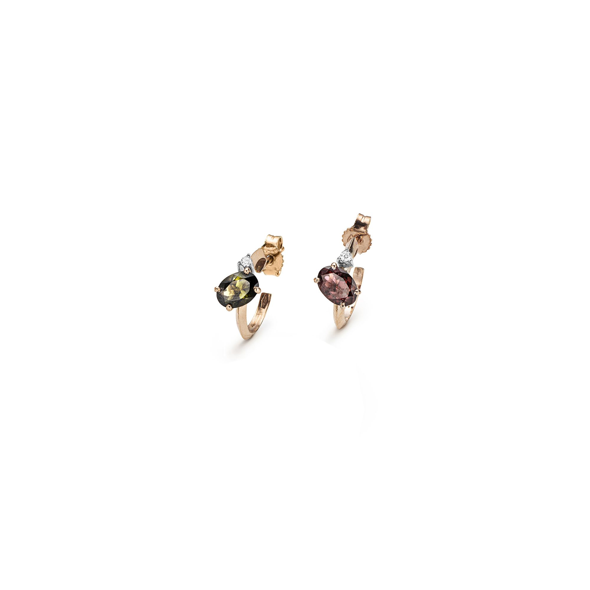 'Balance' hoop earrings with tourmalines Rose gold hoop earrings with tourmalines and diamonds