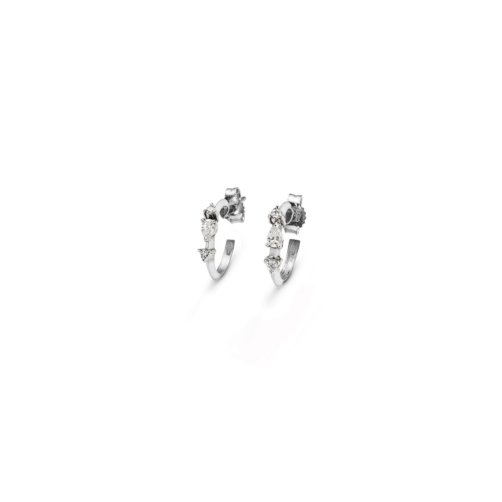 White gold 'Balance' hoop earrings White gold earrings with diamonds