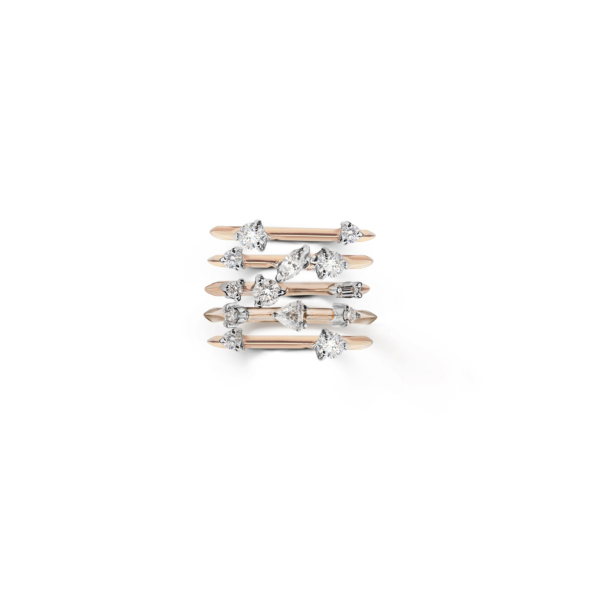 Set of 5 'Balance' rings with diamonds Rose gold stackable rings with diamonds