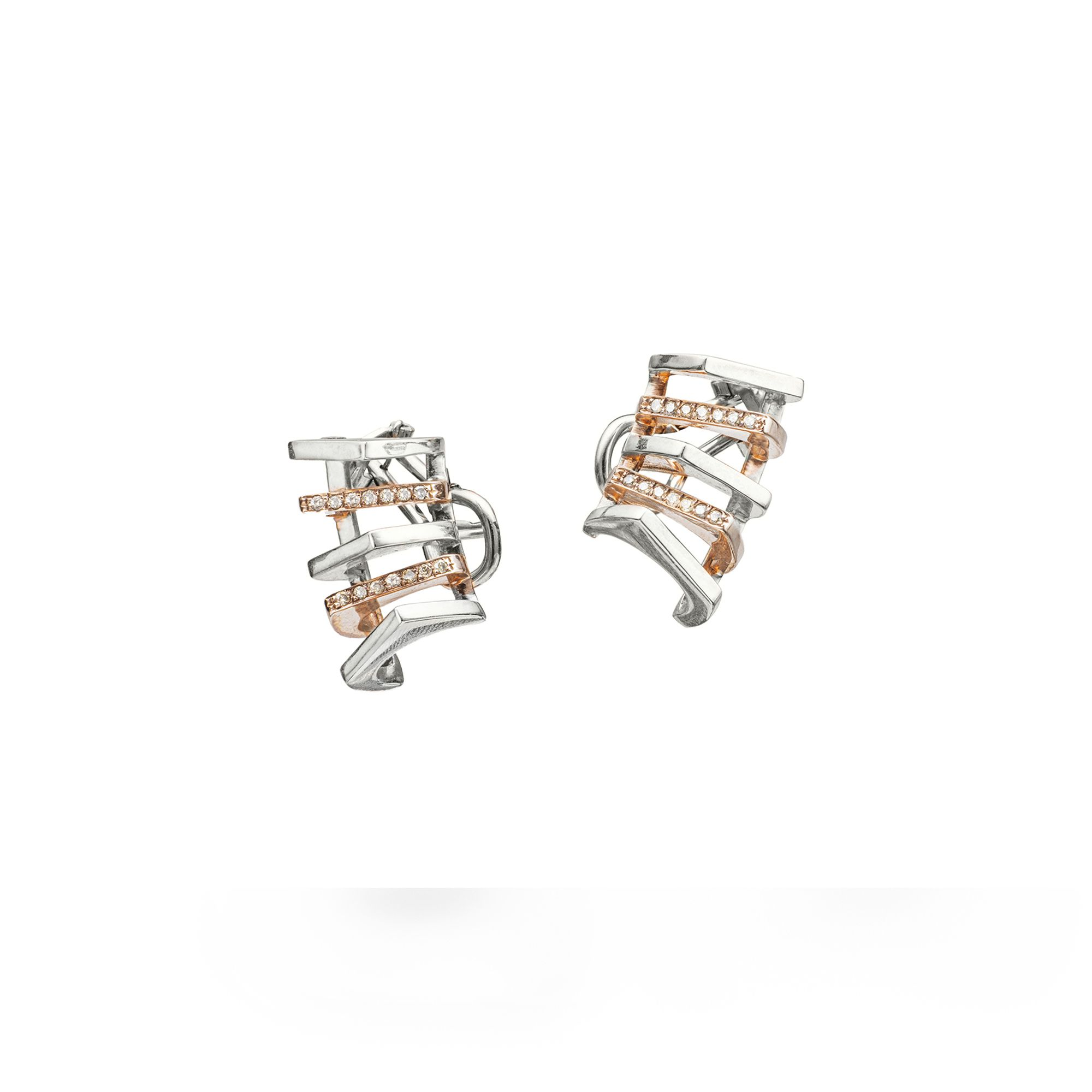 5 element 'Congiunzioni' earrings Silver and rose gold earrings with diamonds