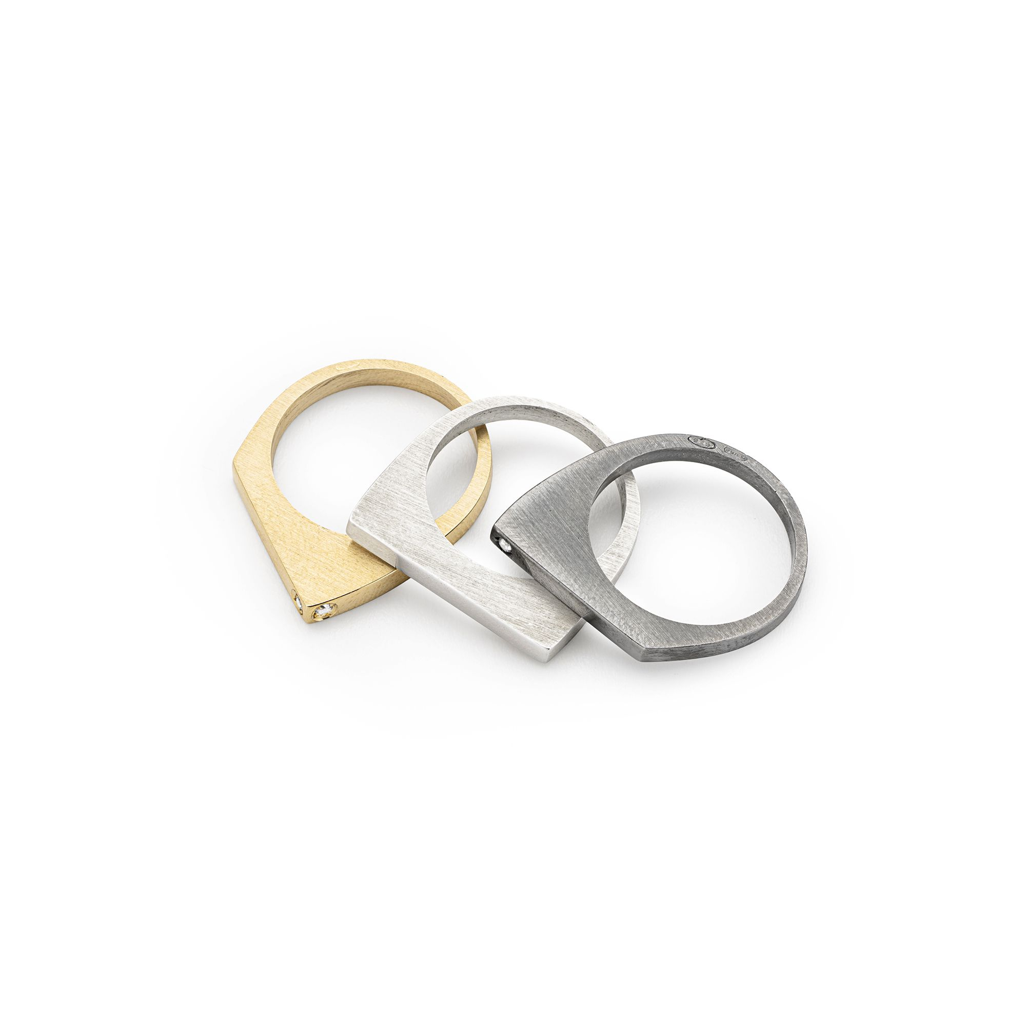 3 'congiunzioni' stackable rings Rings in silver, bronze and black silver