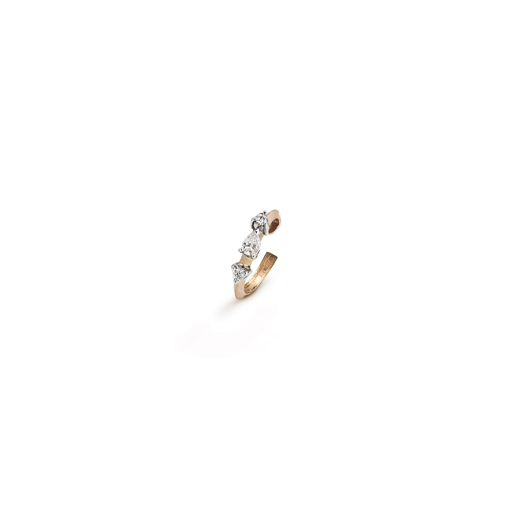 'Balance' ear cuff with drop and round diamonds Rose gold cuff earring with diamonds