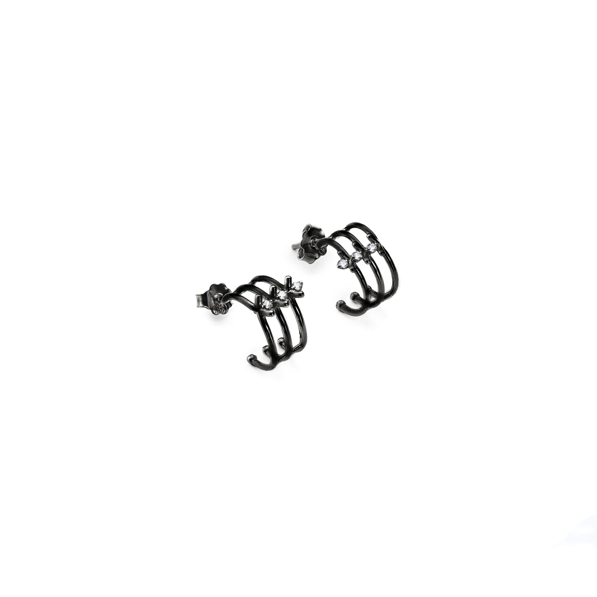 3 element black 'Spinae' hoop earrings  Black silver earrings with stones