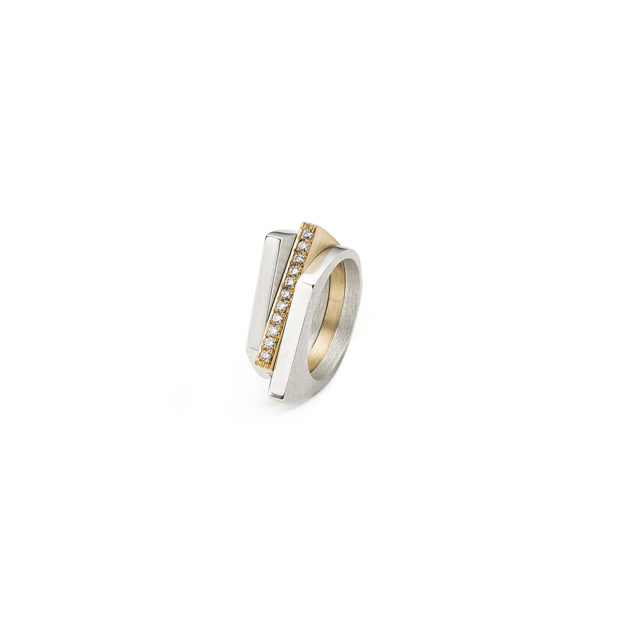 Three silver and gold 'Congiunzioni' stackable rings Yellow gold and silver rings with diamonds