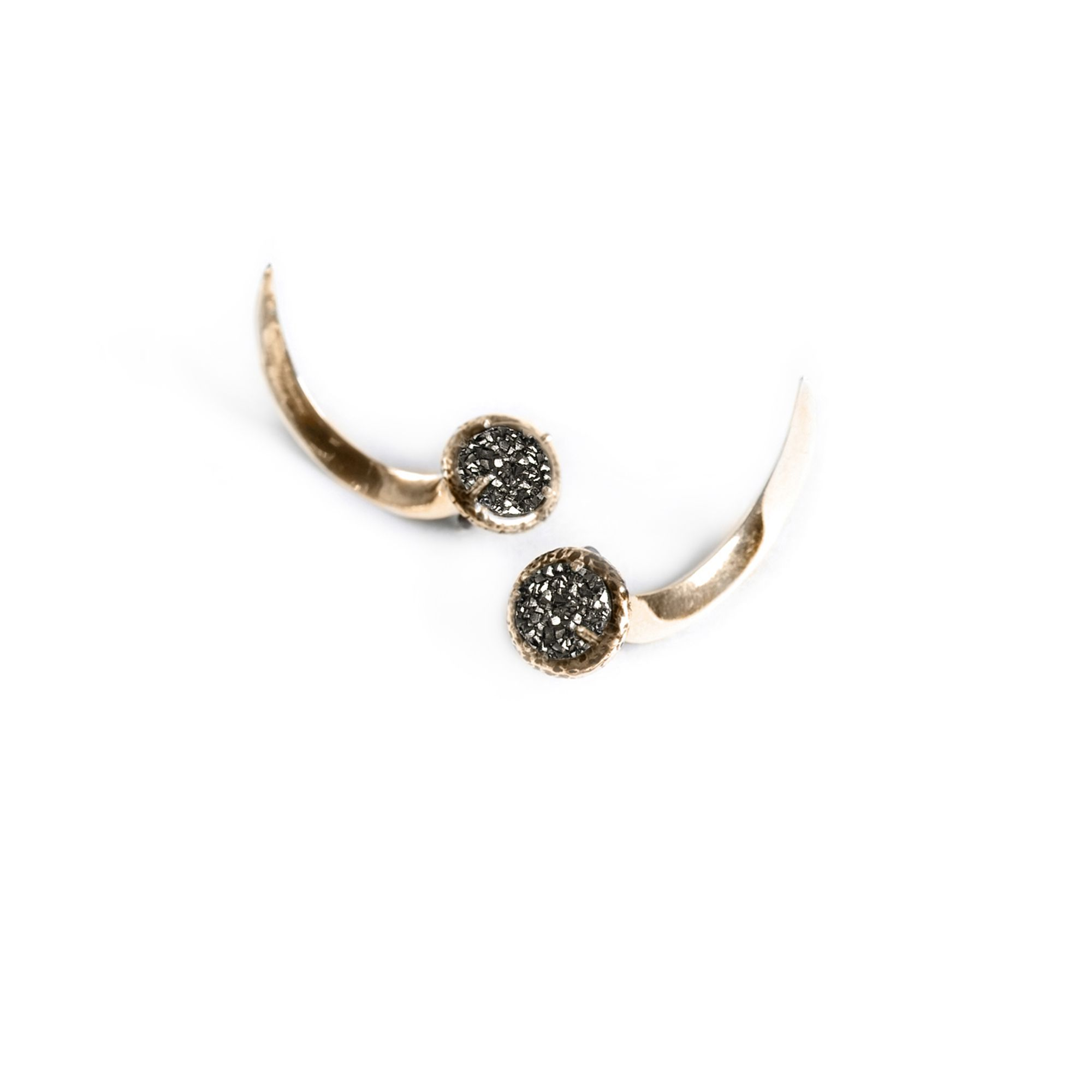 Drusa Hooks Earrings in bronze