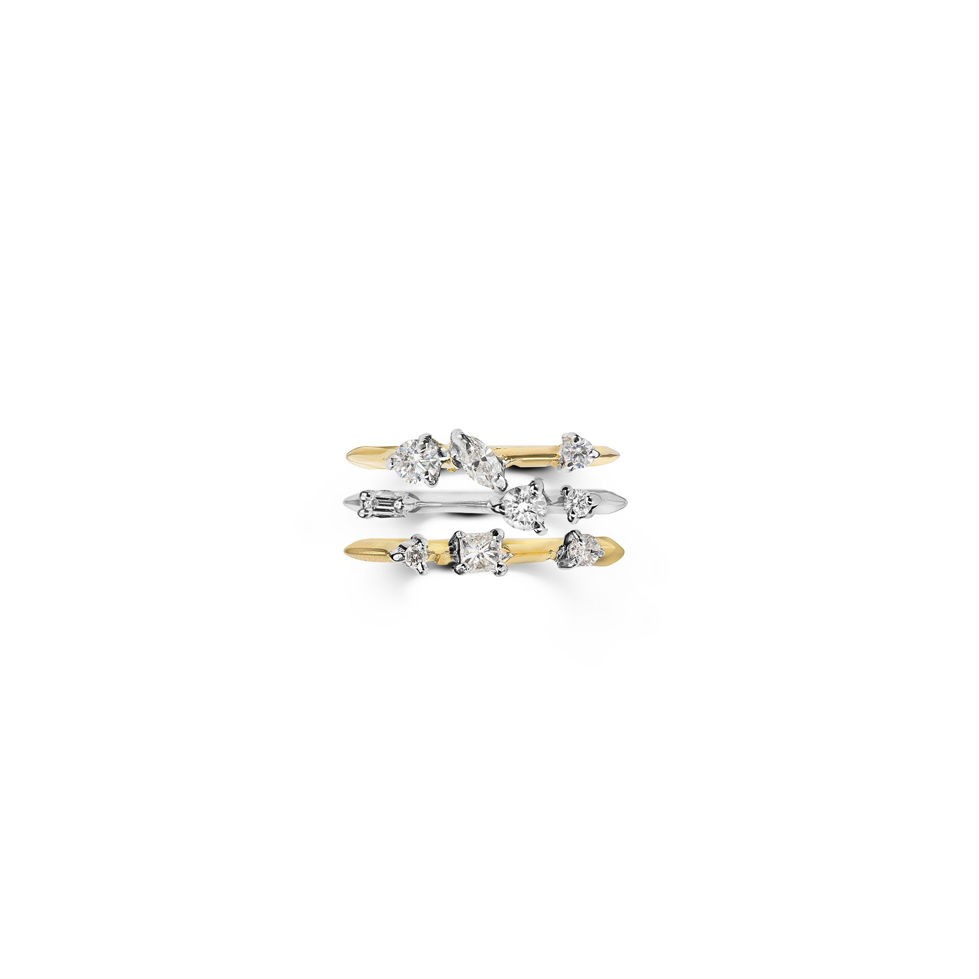 Set of three stackable 'Balance' rings 18kt Yellow and white gold rings with diamonds