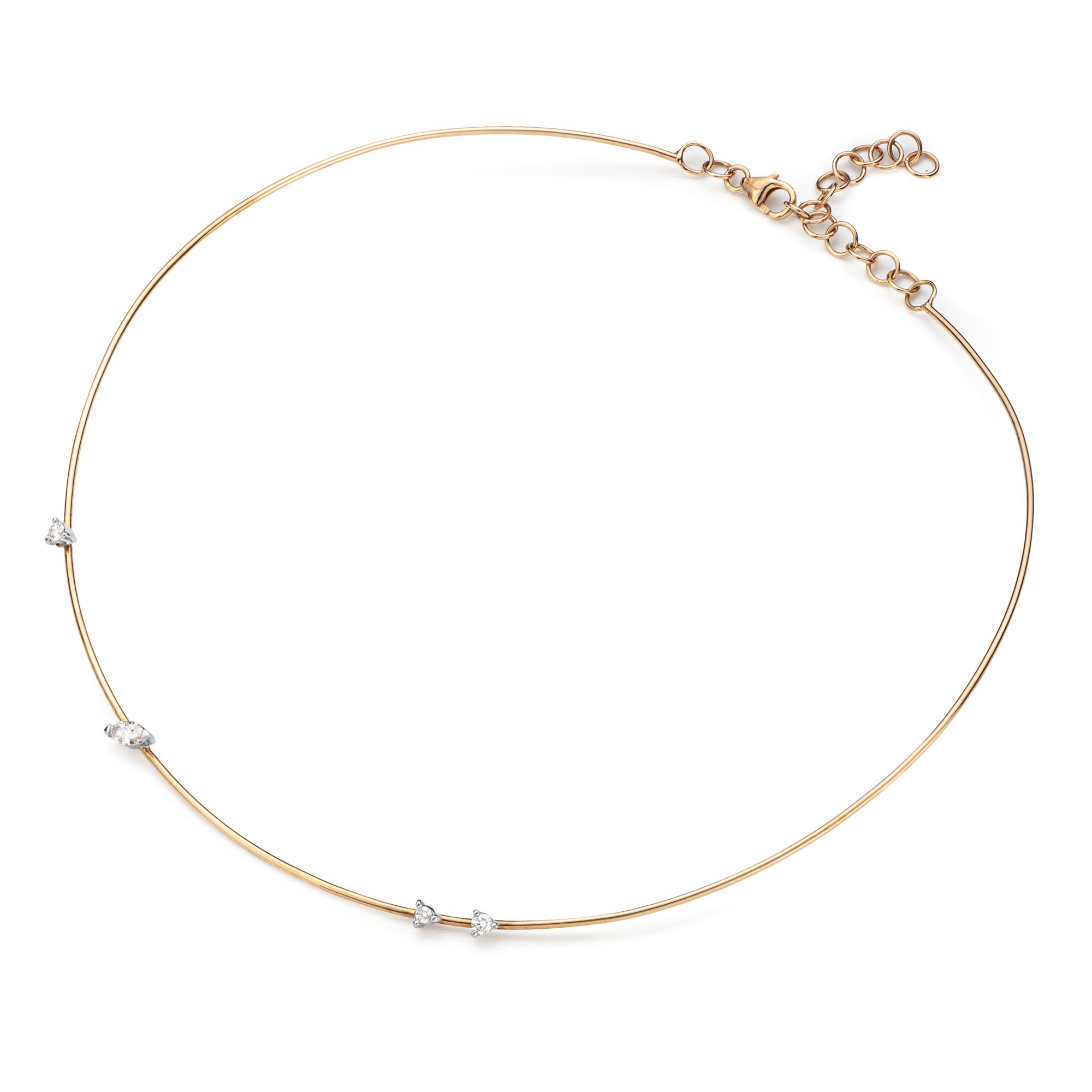 Pink gold 'Balance' necklace 9kt pink gold necklace with diamonds