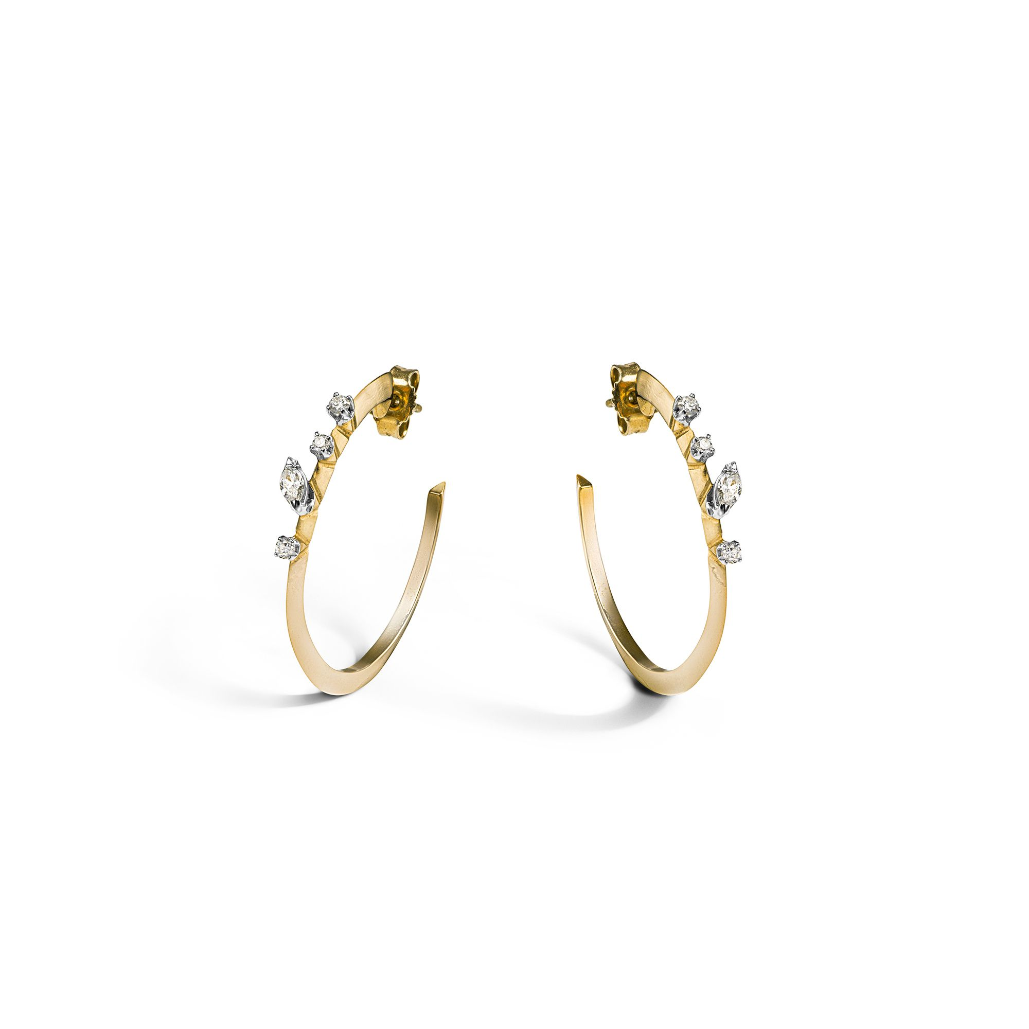 Yellow 'Balance' hoop earrings Yellow gold medium hoop earrings with diamonds