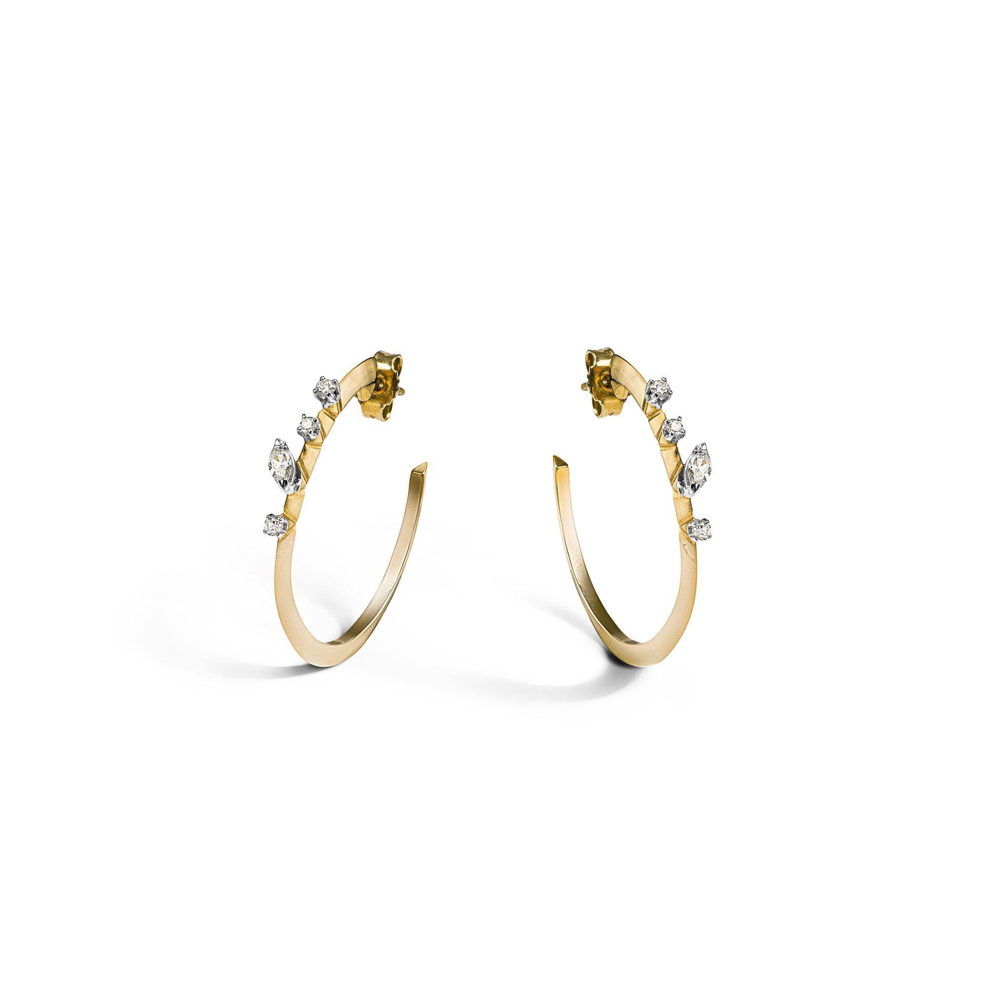 Yellow 'Balance' hoop earrings Yellow gold medium hoop earrings with diamonds