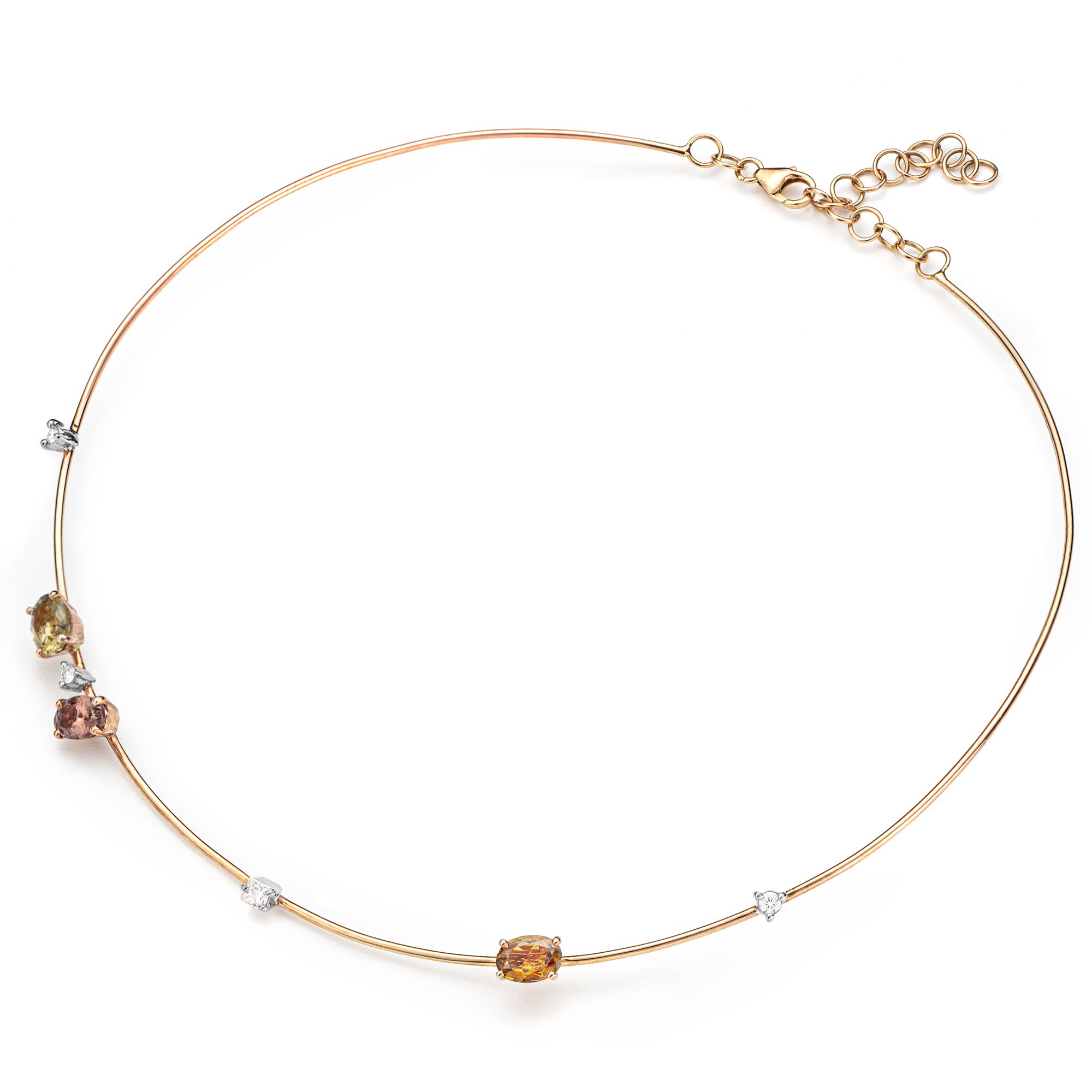 Pink gold 'Balance' necklace with tourmalines Rose gold necklace with tourmalines and diamonds