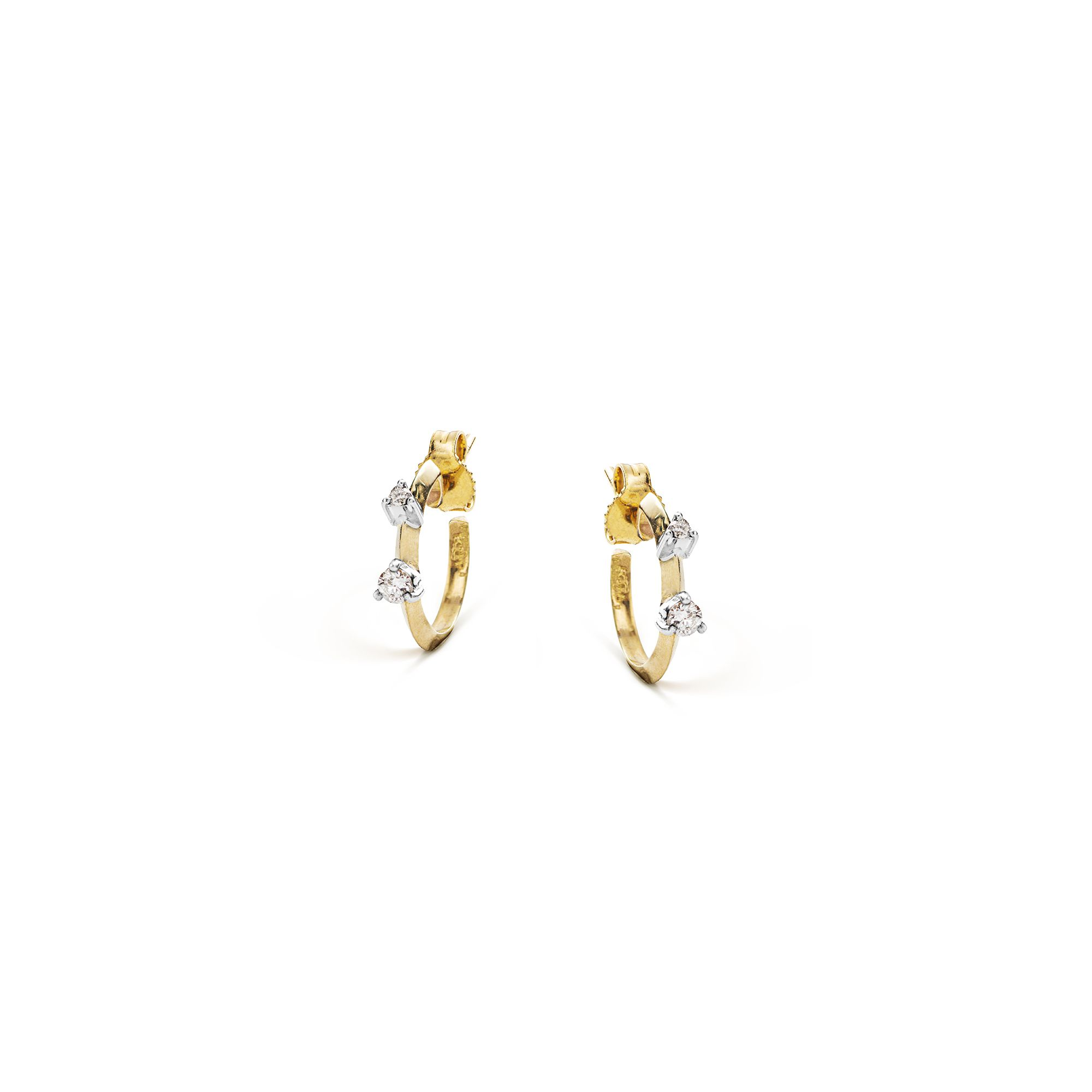 Yellow gold 'Balance' hoop earrings xs yellow gold hoop earrings with diamonds