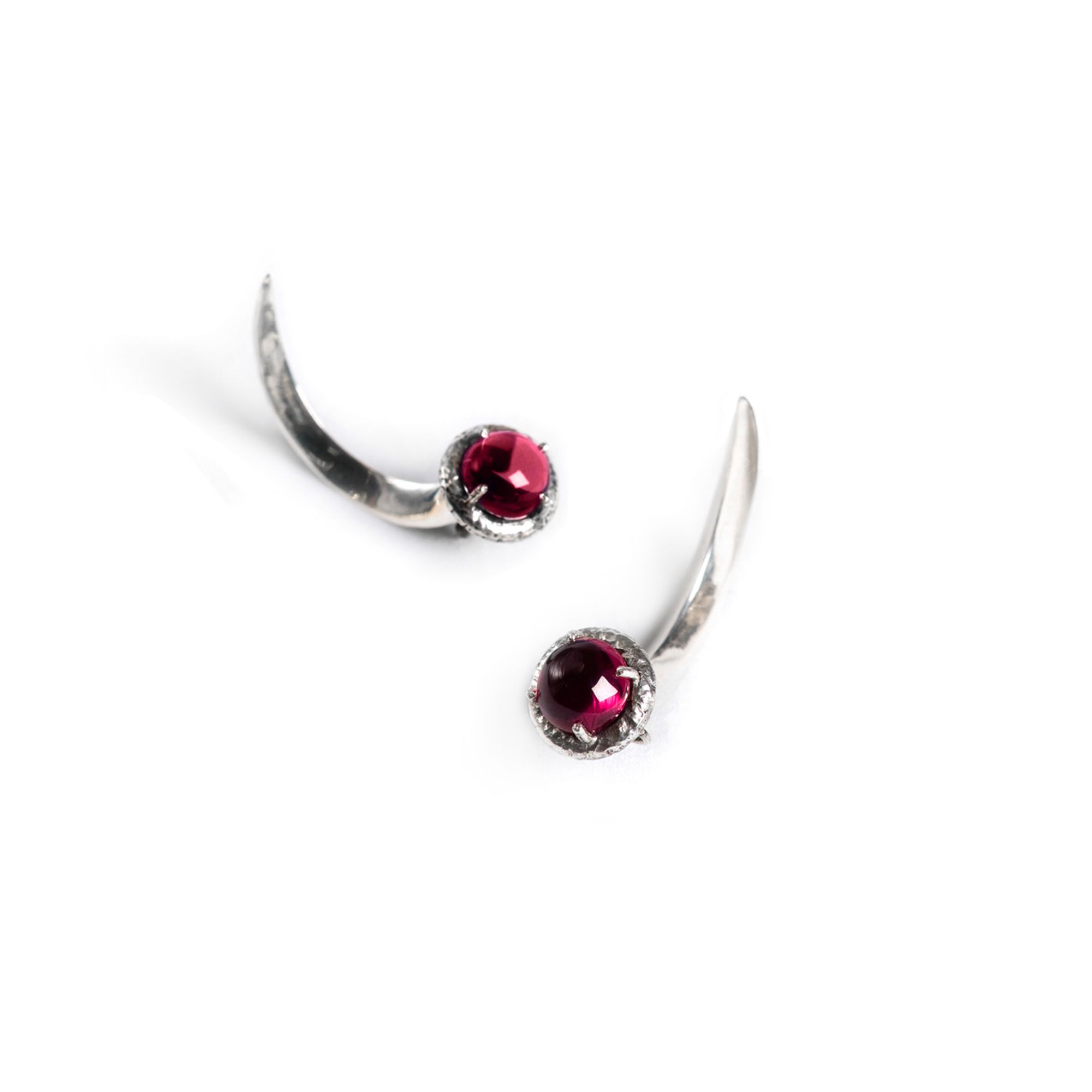 Red crystal Hooks Earrings in silver