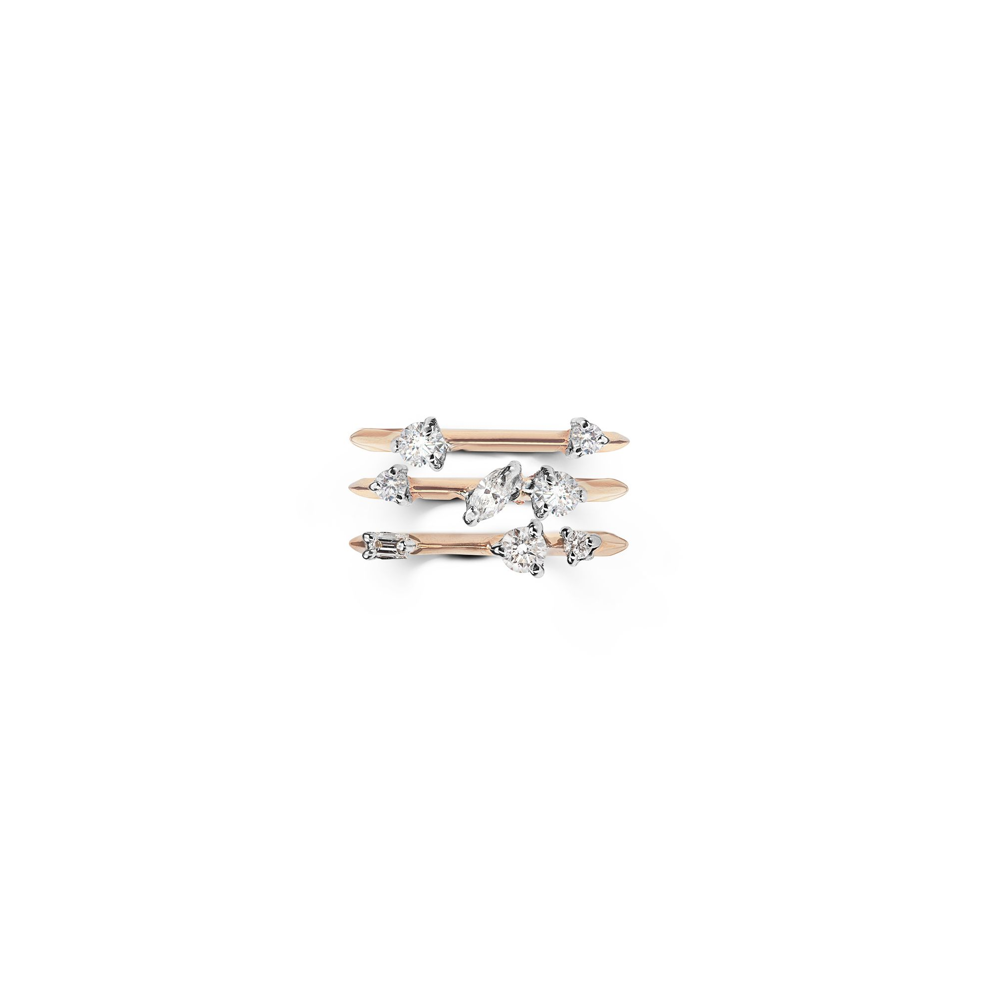Set of 3 rose gold 'Balance' rings Pink gold Stackable rings with diamonds