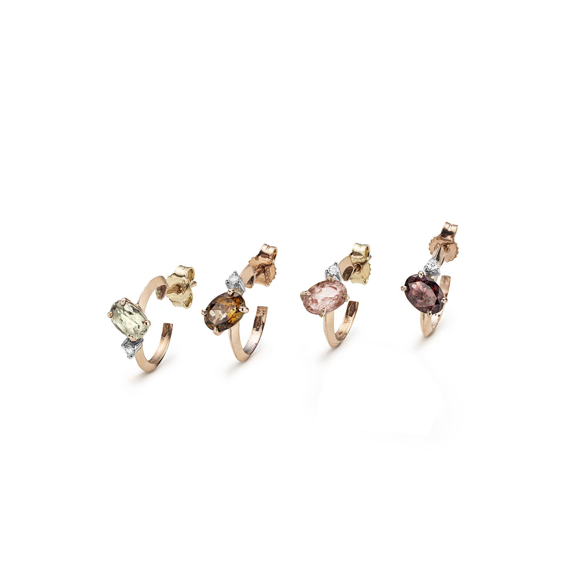 Set di quattro cerchietti 'Balance' con tormaline Orecchini in oro rosa, diamanti bianchi e tormaline di colori mix