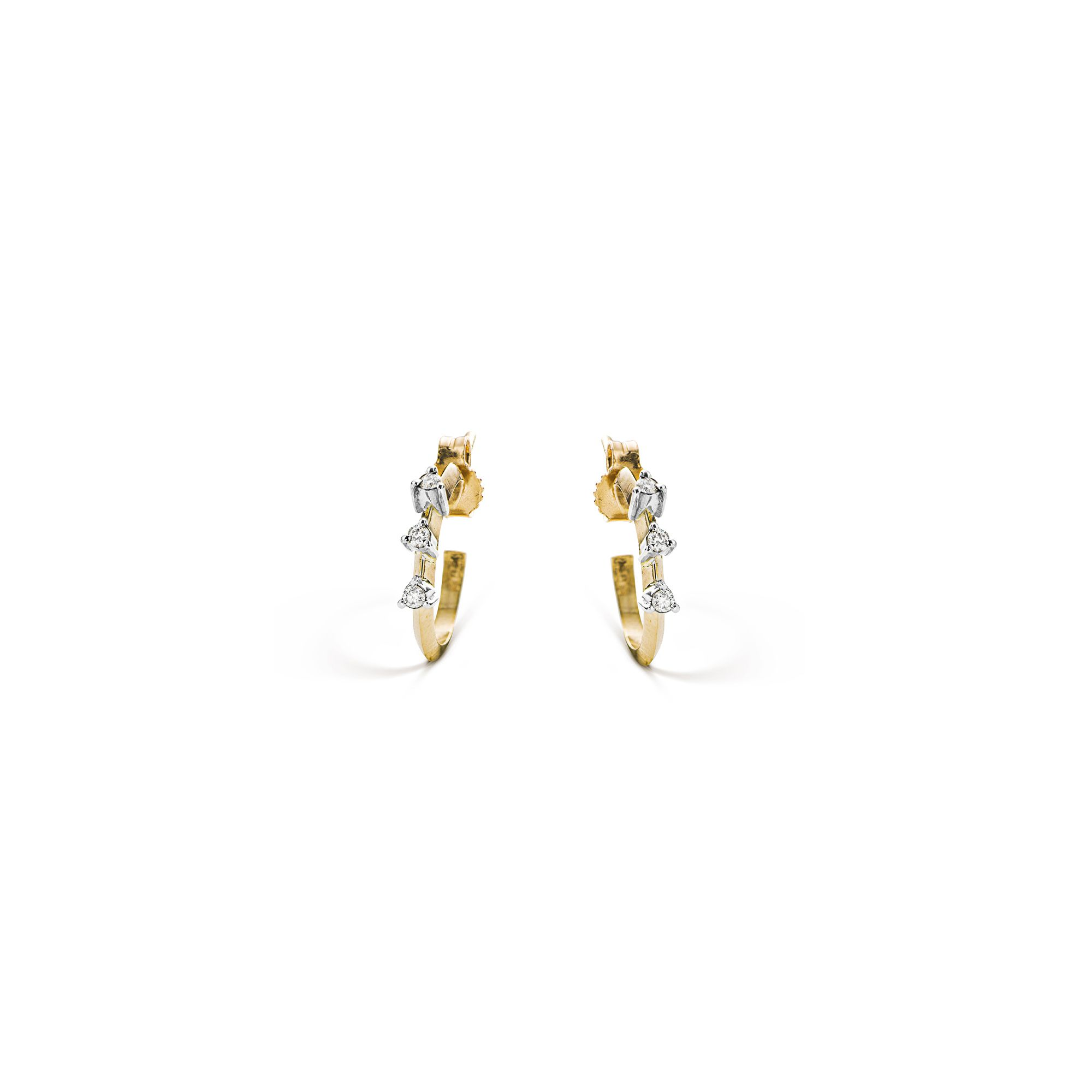 Yellow gold 'Balance' small hoop earrings Gold hoop earrings with diamonds