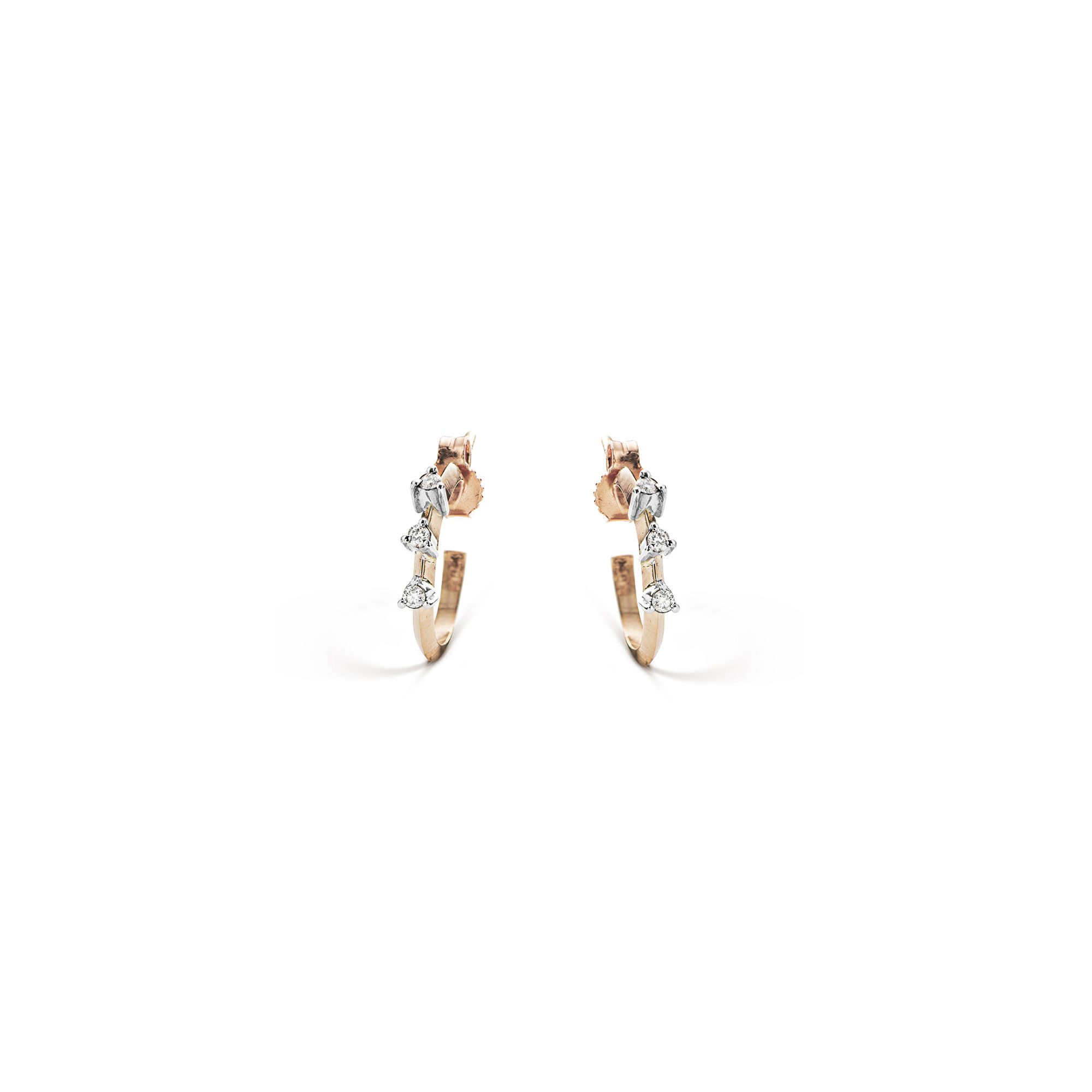 Rose gold 'Balance' hoop earrings Pink gold small hoop earrings with white diamonds