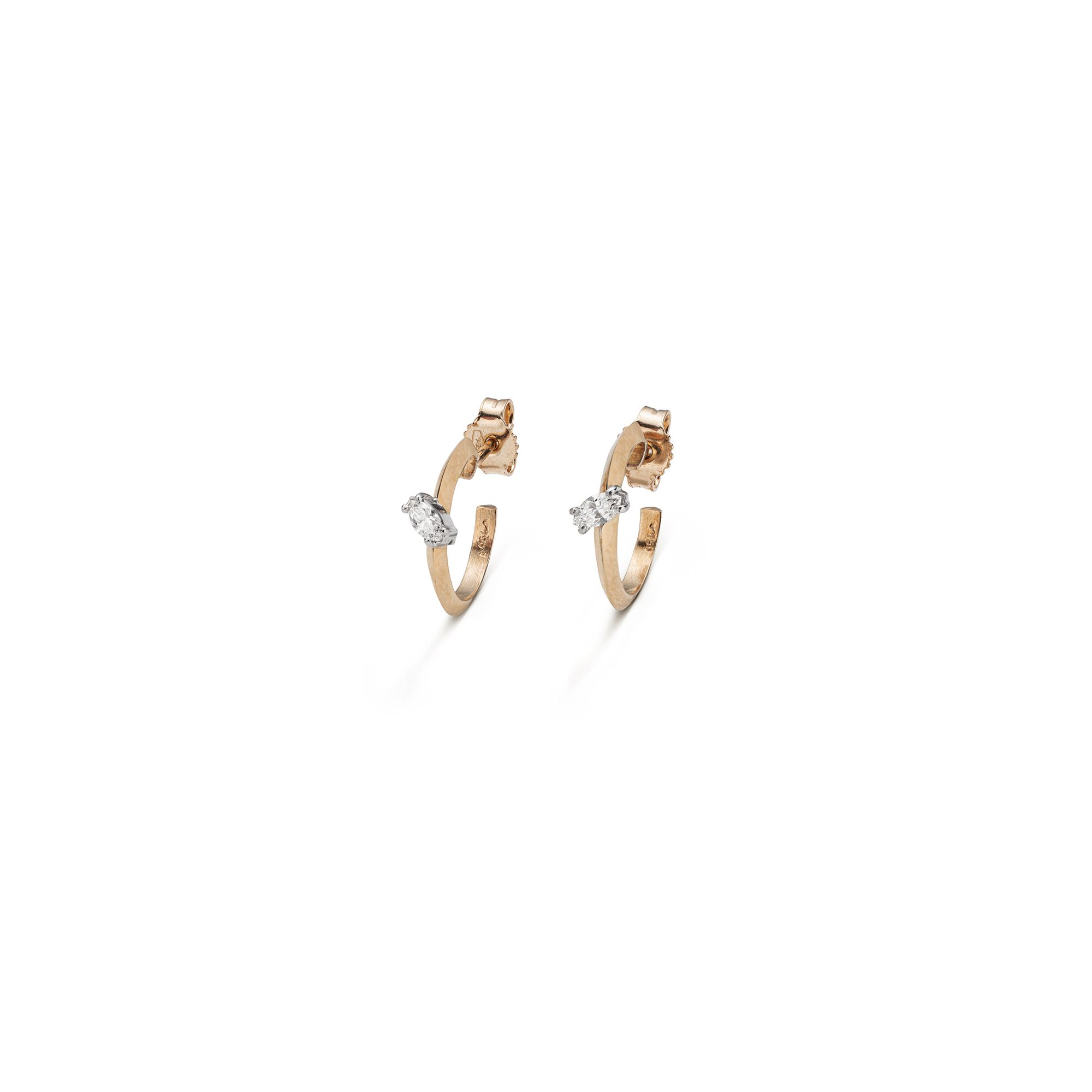 Rose gold 'Balance' hoop earrings with marquise Pink gold small hoop earrings with diamonds