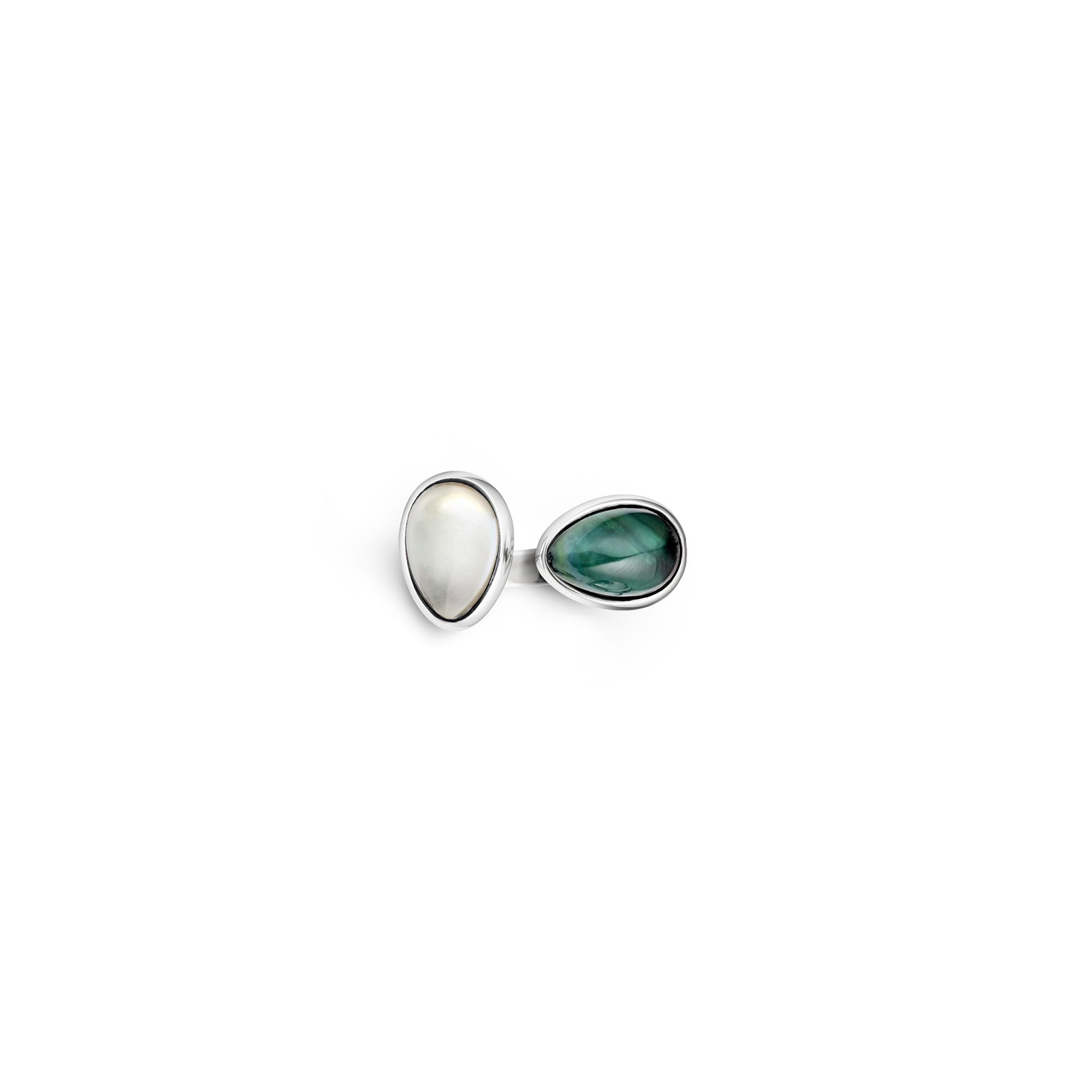 2 element green|white 'Drop' ring Silver ring with stones