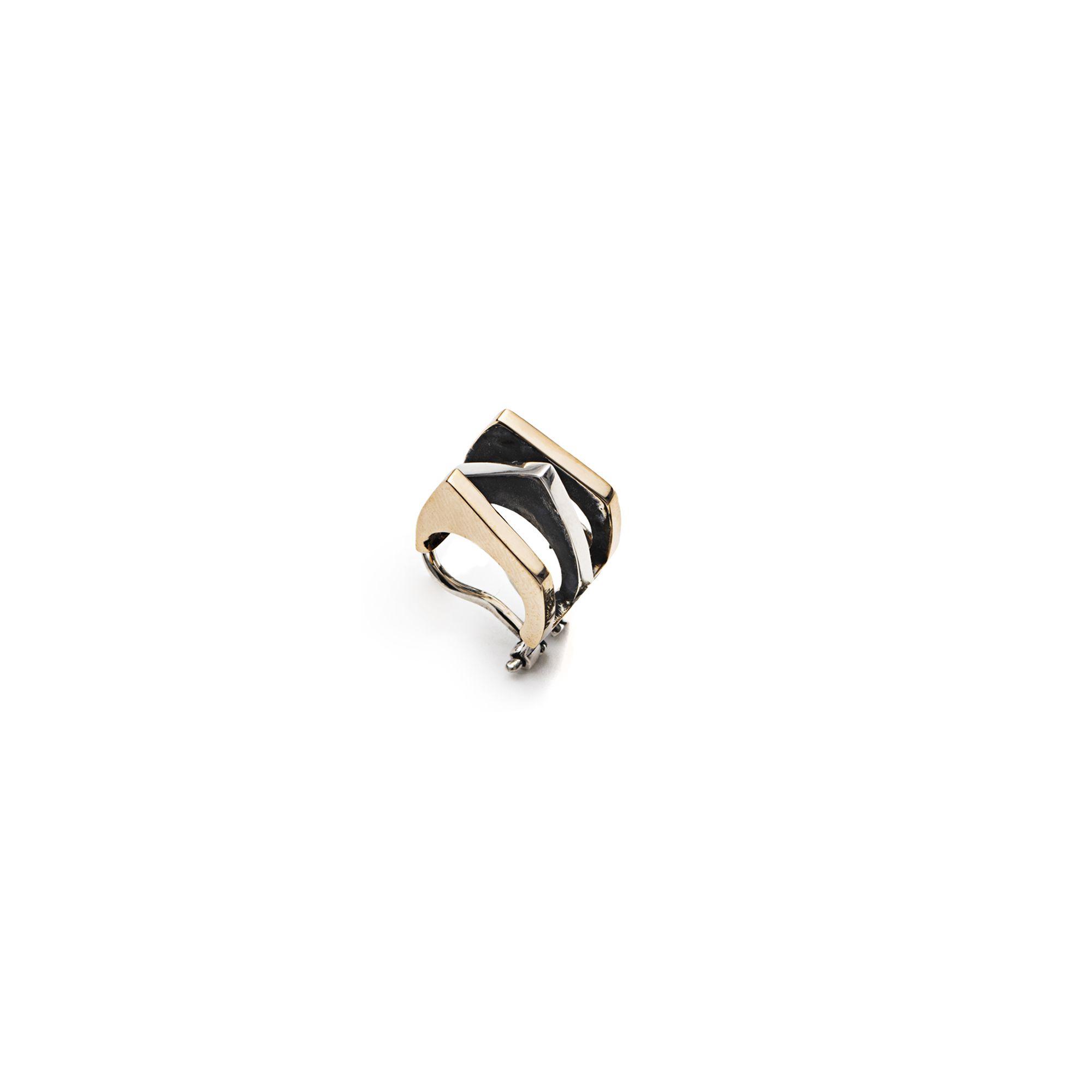 3-element 'Congiunzioni' ear cuff Mono earring for cartilage in silver and bronze