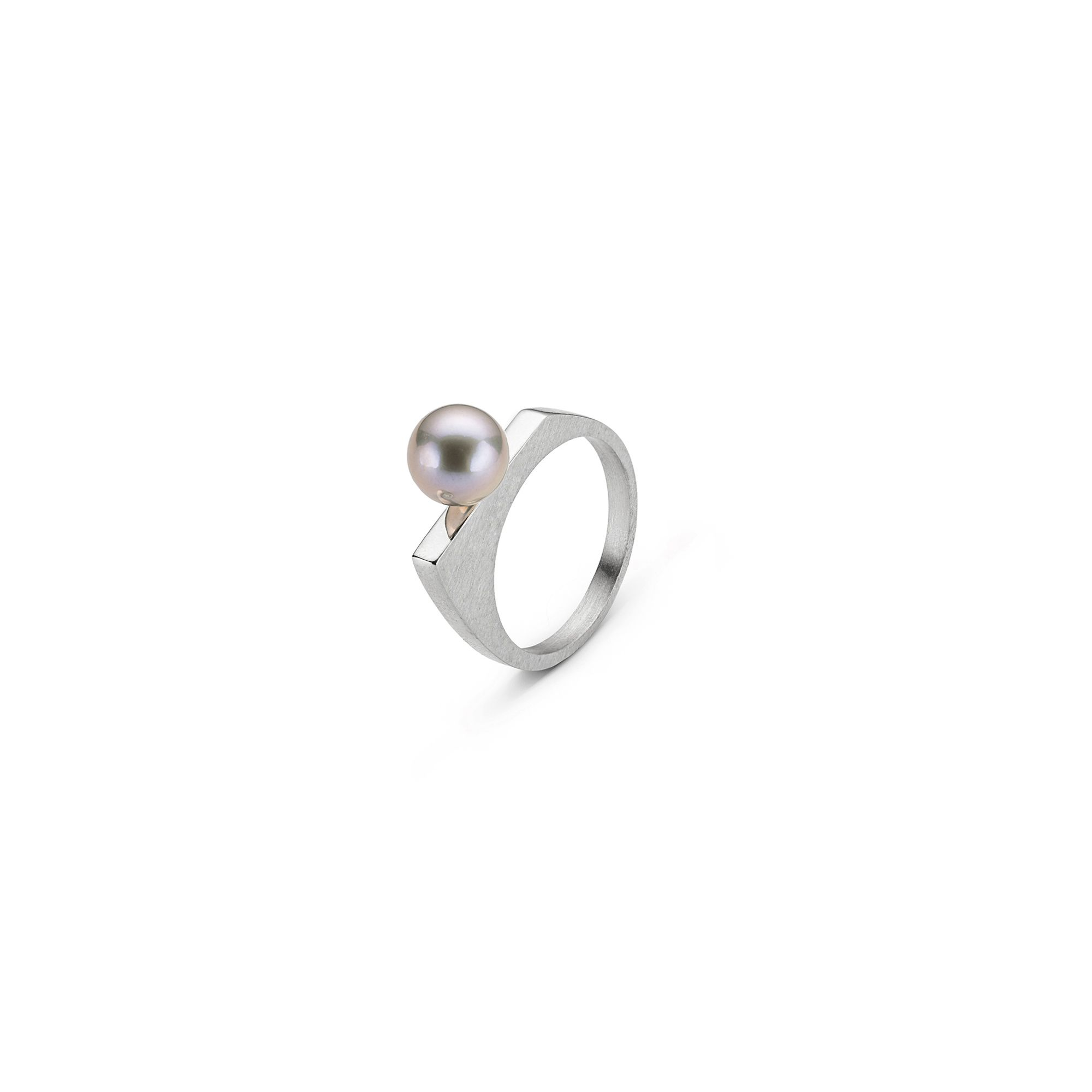 'Congiunzioni' silver ring with pearl Stackable silver ring with grey pearl