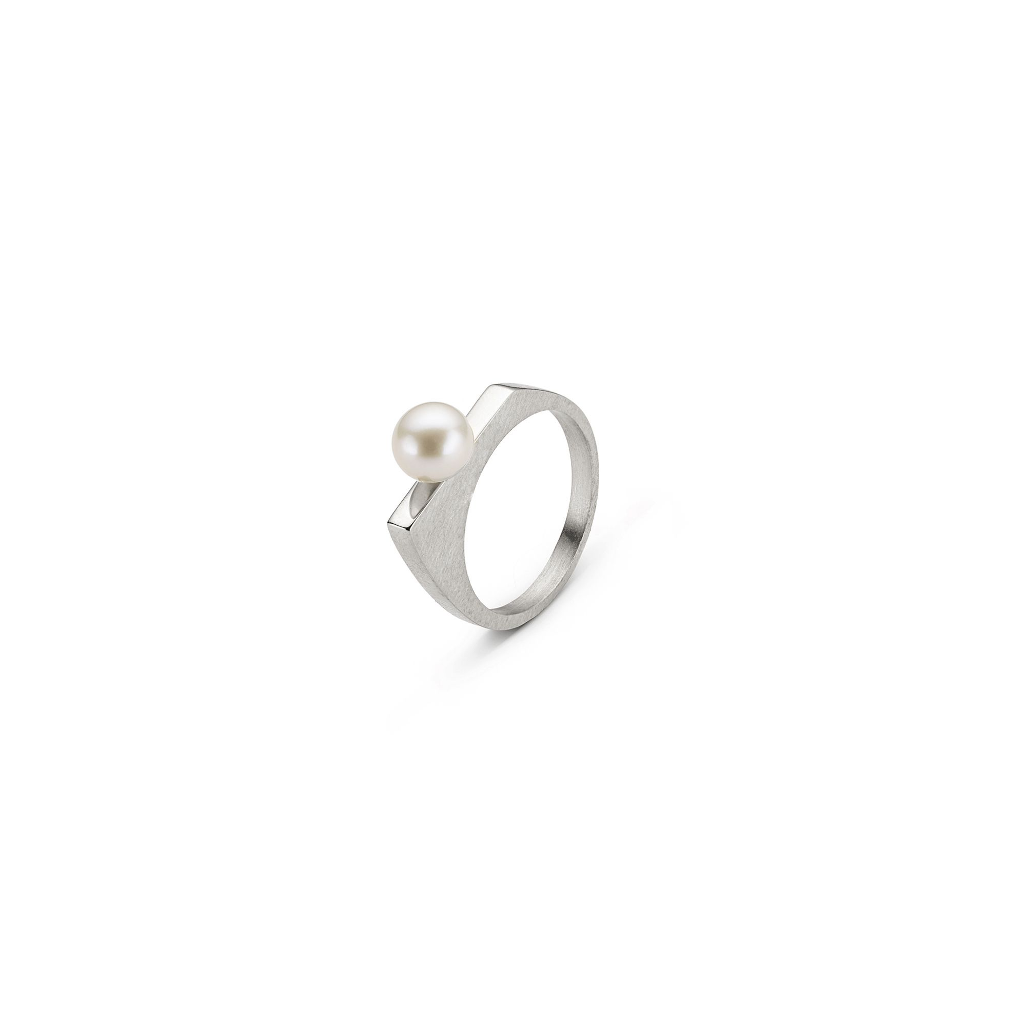 'Congiunzioni' silver ring with pearl Stackable silver ring with white pearl