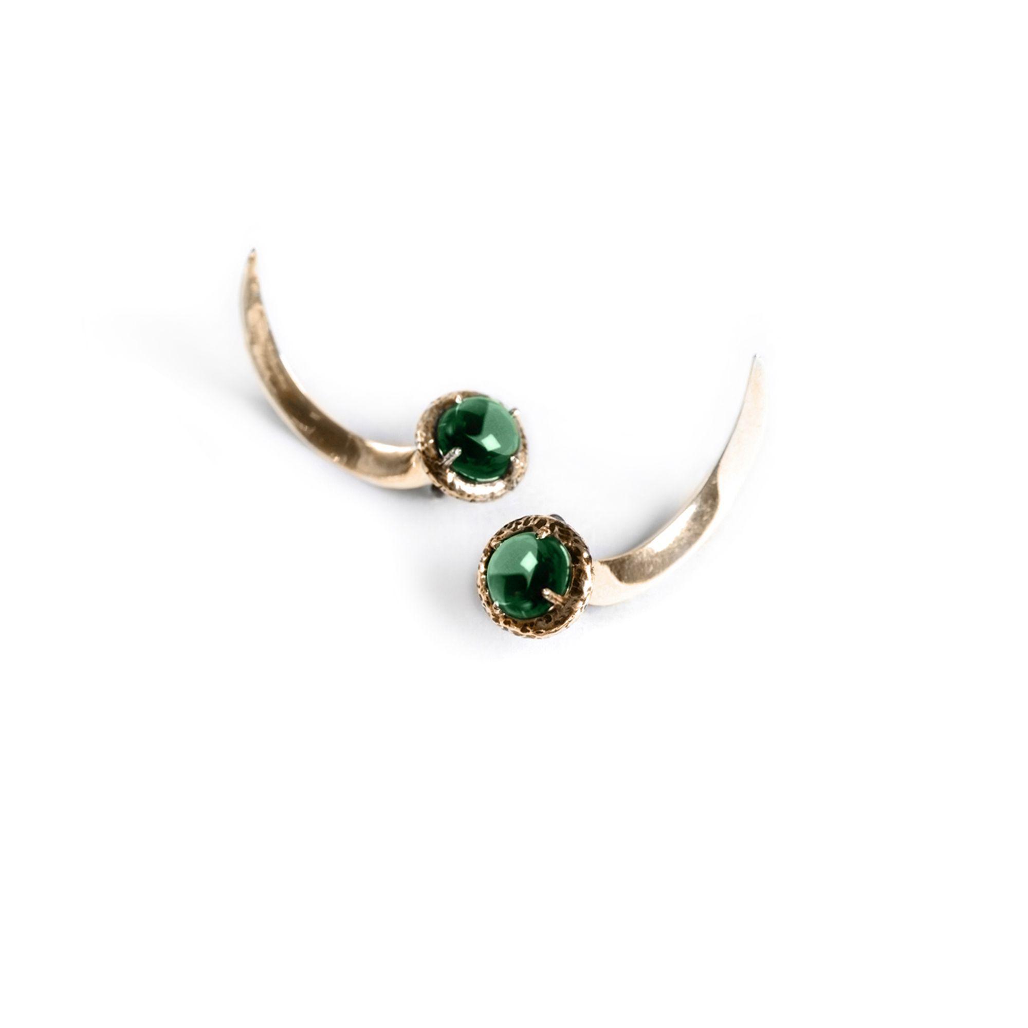 Uncini con cristallo verde Orecchini in bronzo