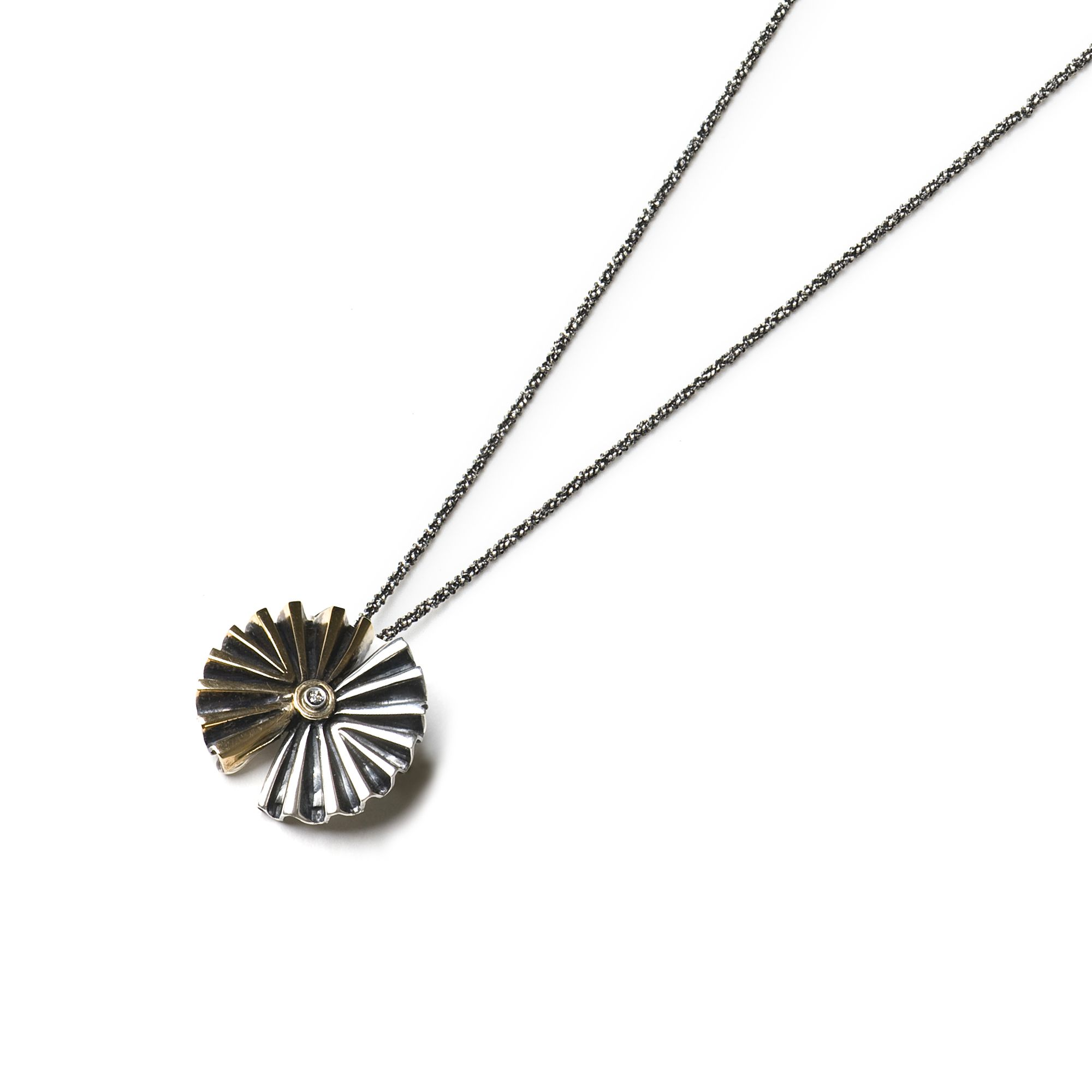 Double Fan pendant Silver and bronze pendant with chain