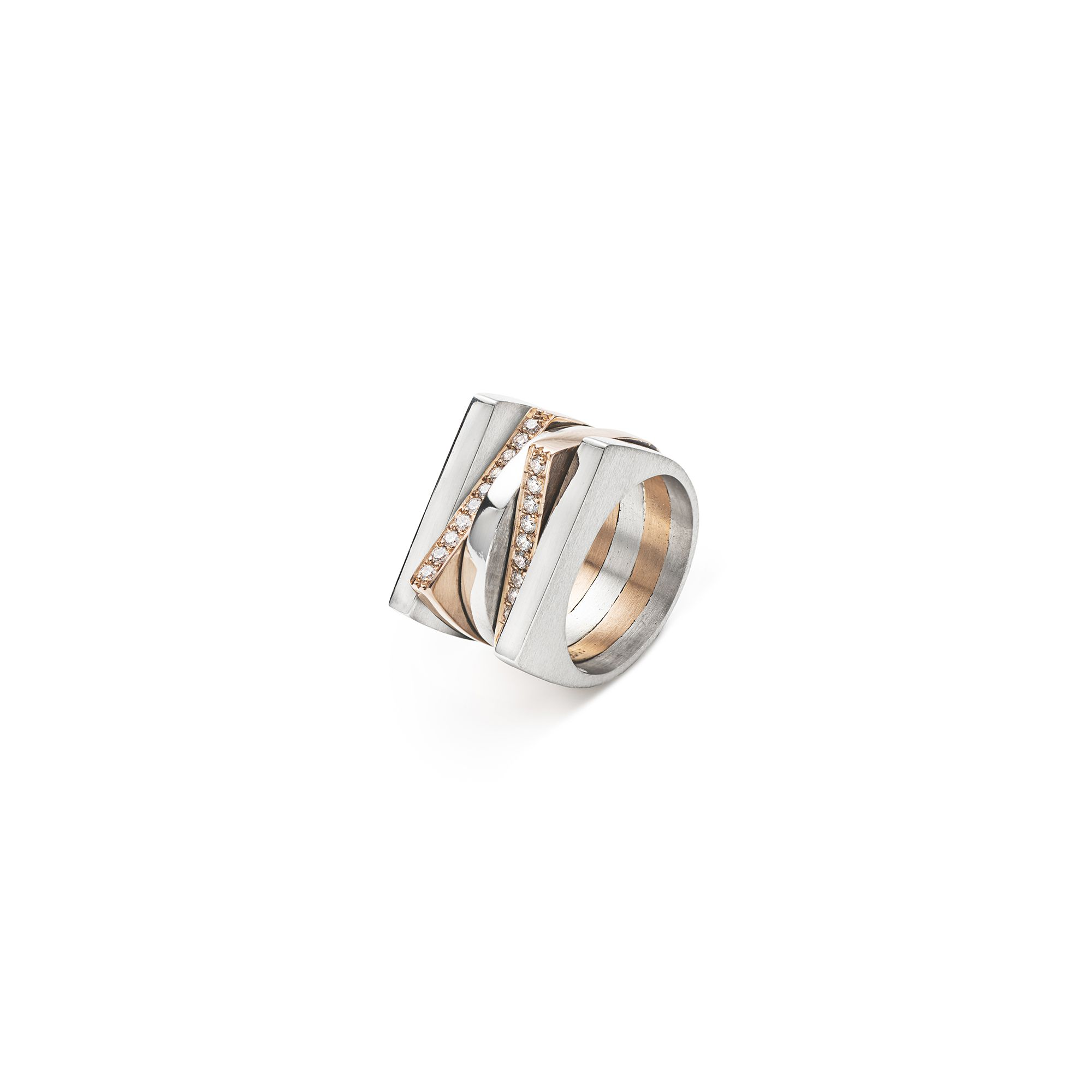 'Congiunzioni' 5 elements mix ring in silver and rose gold Silver and rose gold 9 kt with pave diamonds