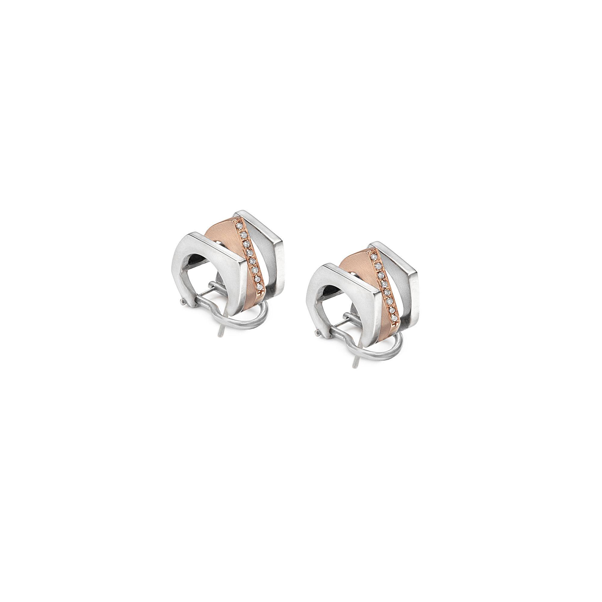 3 element 'Congiunzioni' earrings in silver and rose gold Earrings in silver and rose gold with pave diamonds