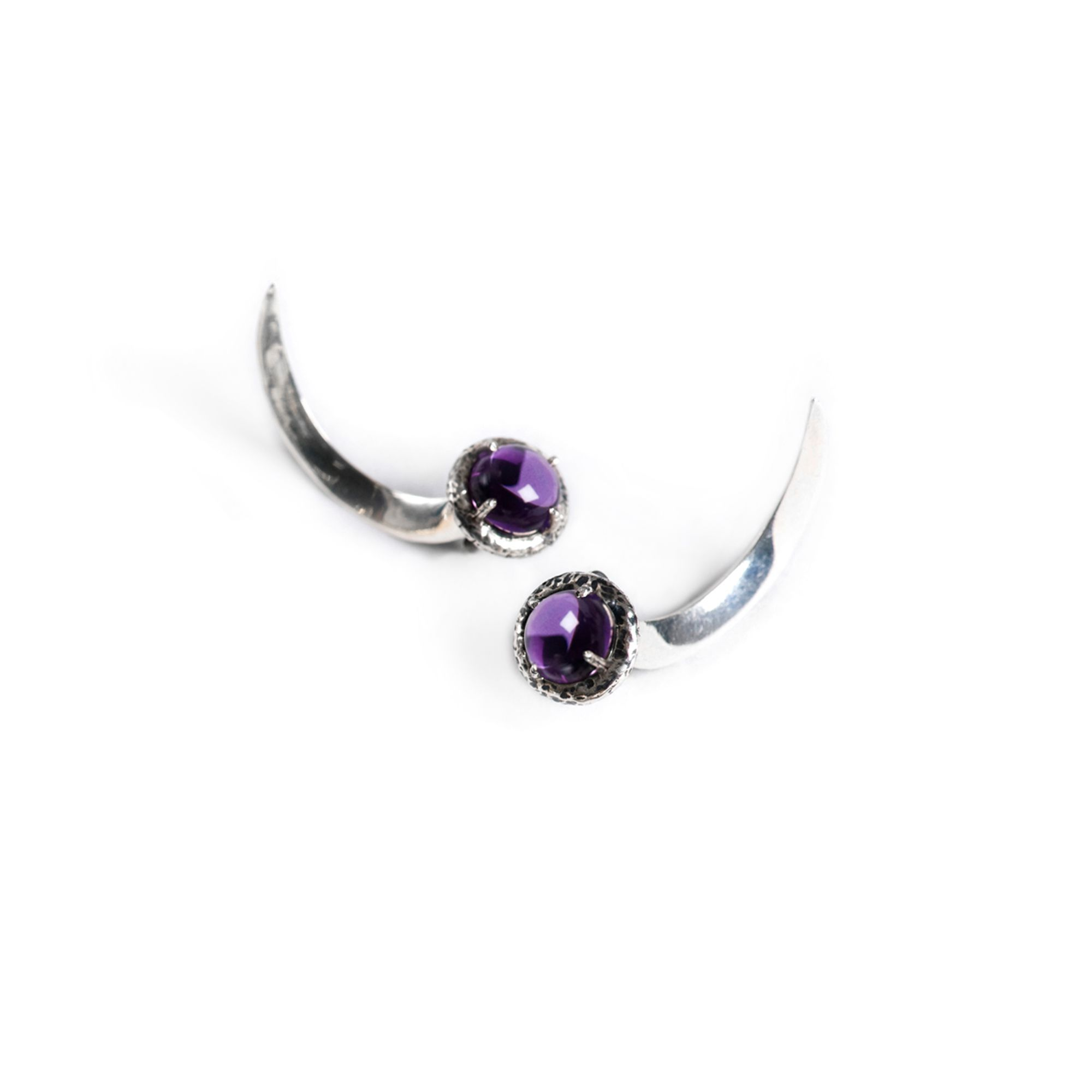 Amethyst Hooks Earrings in silver