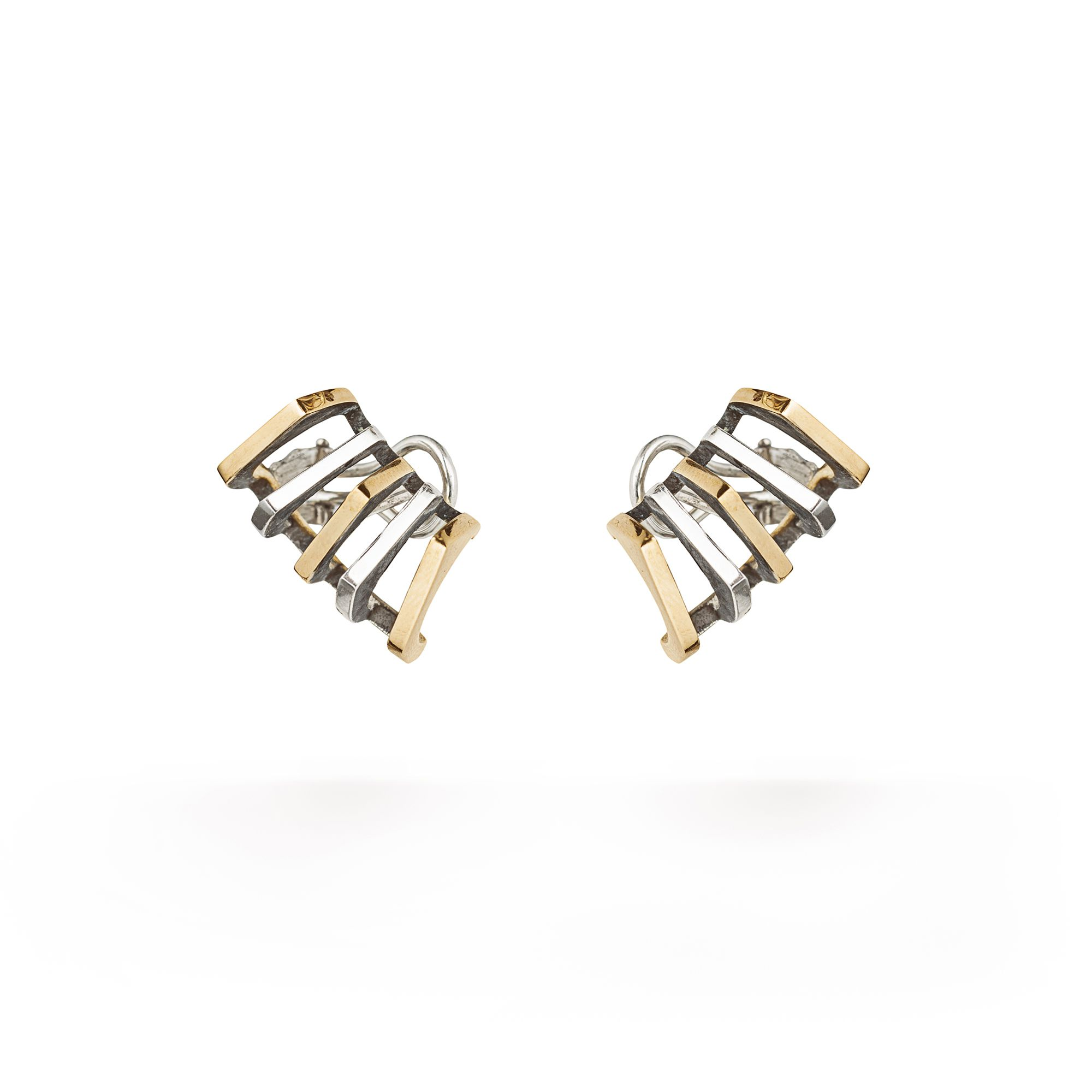 'Congiunzioni' 5 element earrings bronze based Earrings in 925 silver and bronze