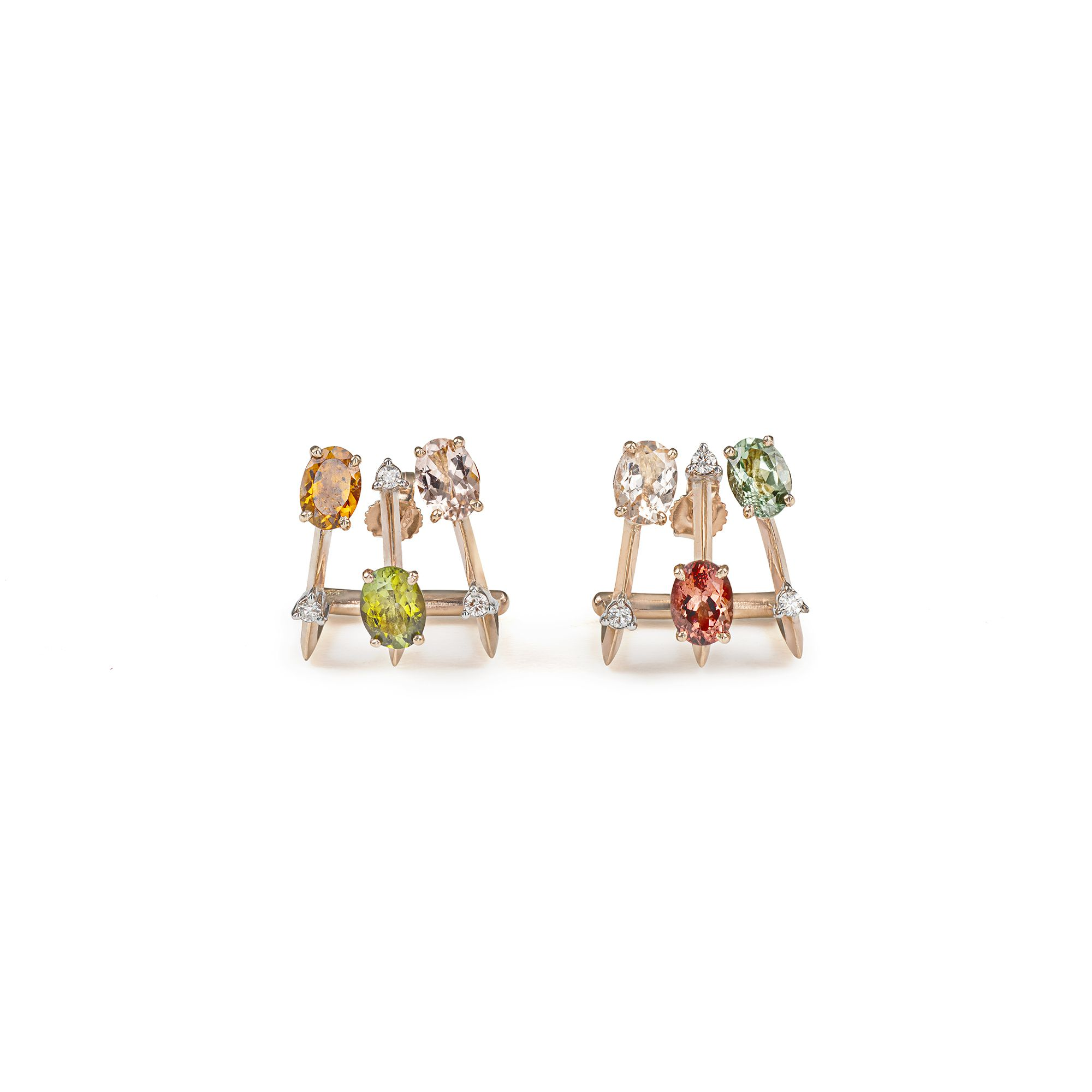 'Balance' 3 elements earrings with tourmalines Earrings in rose gold, tourmalines and diamonds