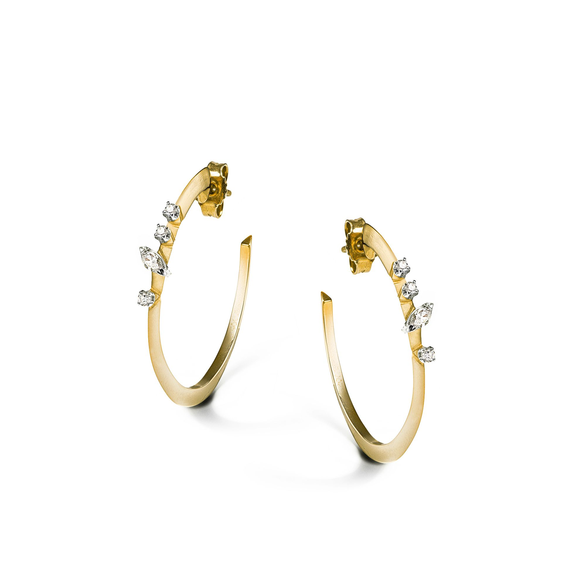 Yellow 'Balance' hoop earrings Yellow gold big hoop earrings with diamonds
