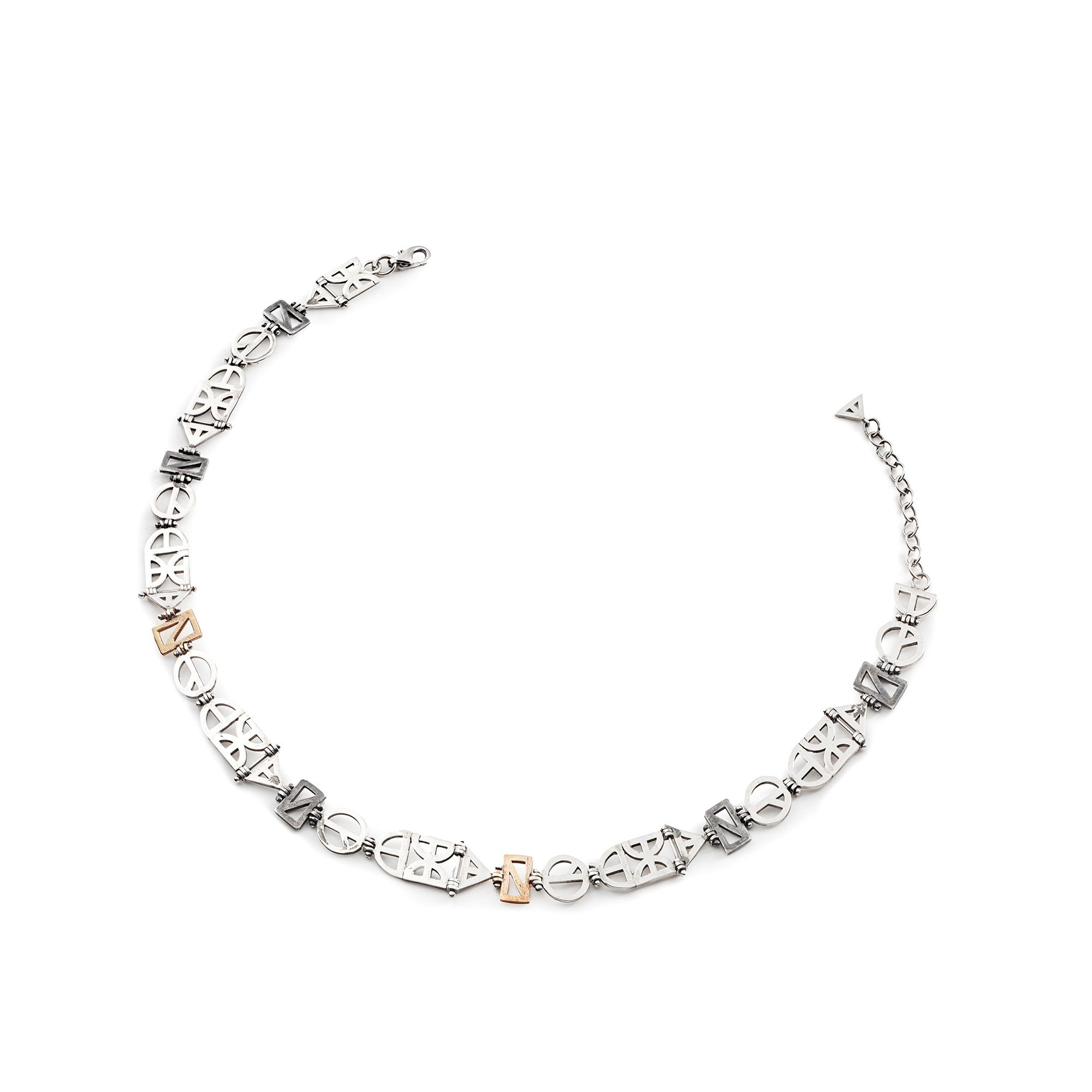 Origami Choker Neck string necklace in silver, rhodium silver and bronze