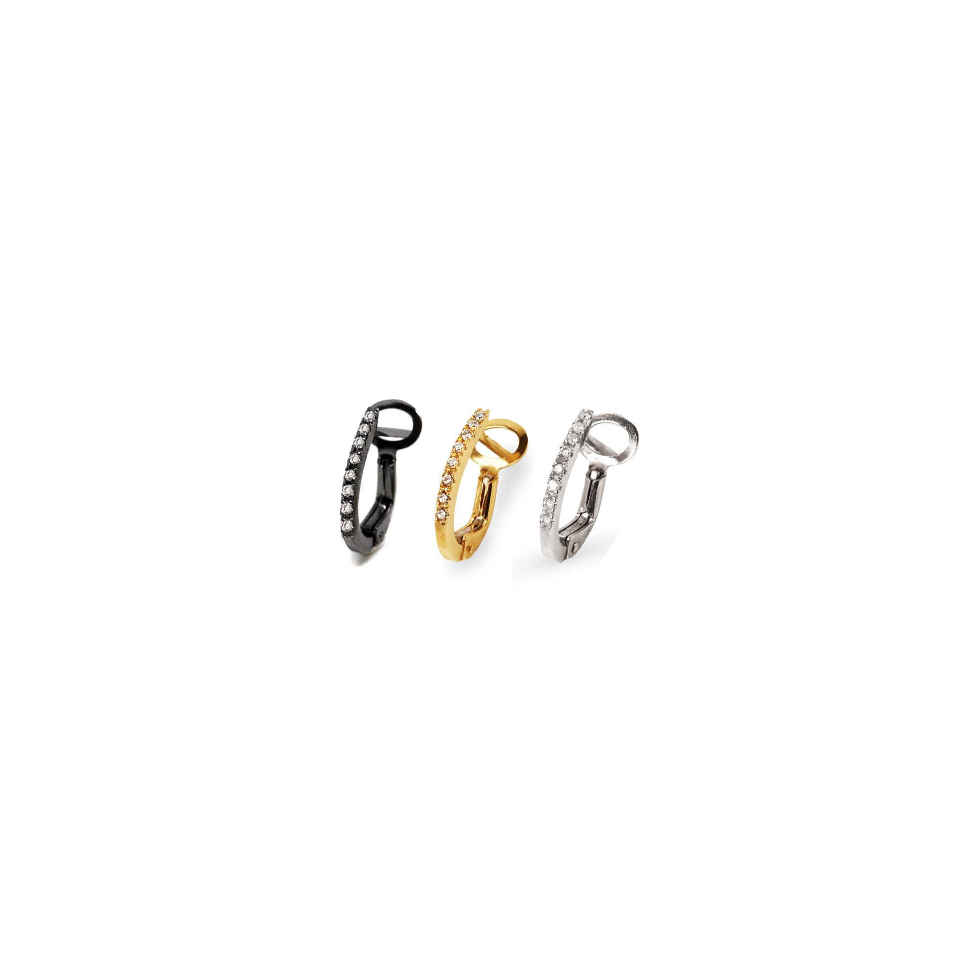 Set of three gold hoop earrings Yellow, white and black gold earrings with diamonds