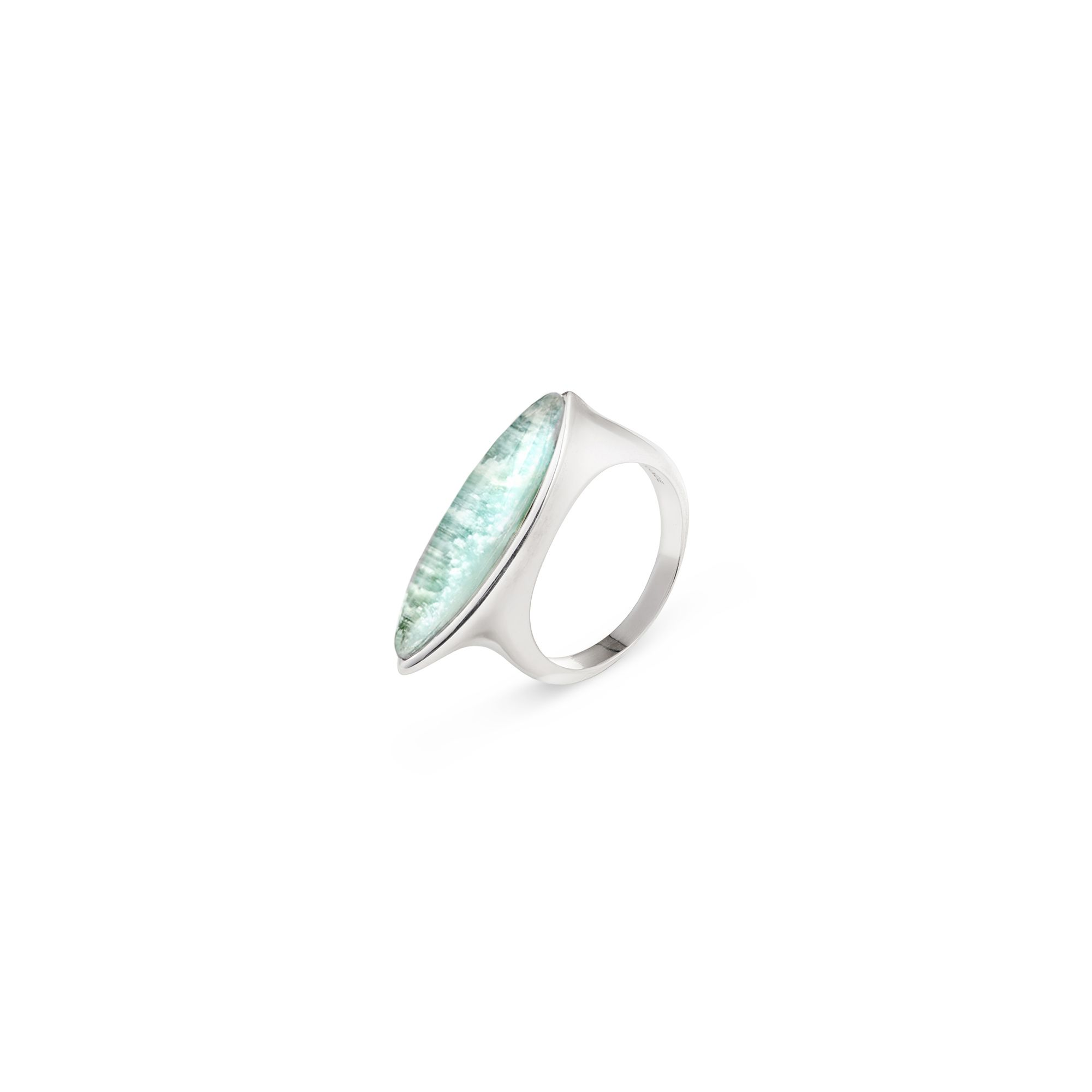 'Navetta' ring with amazonite Silver ring with 'doublet' stone