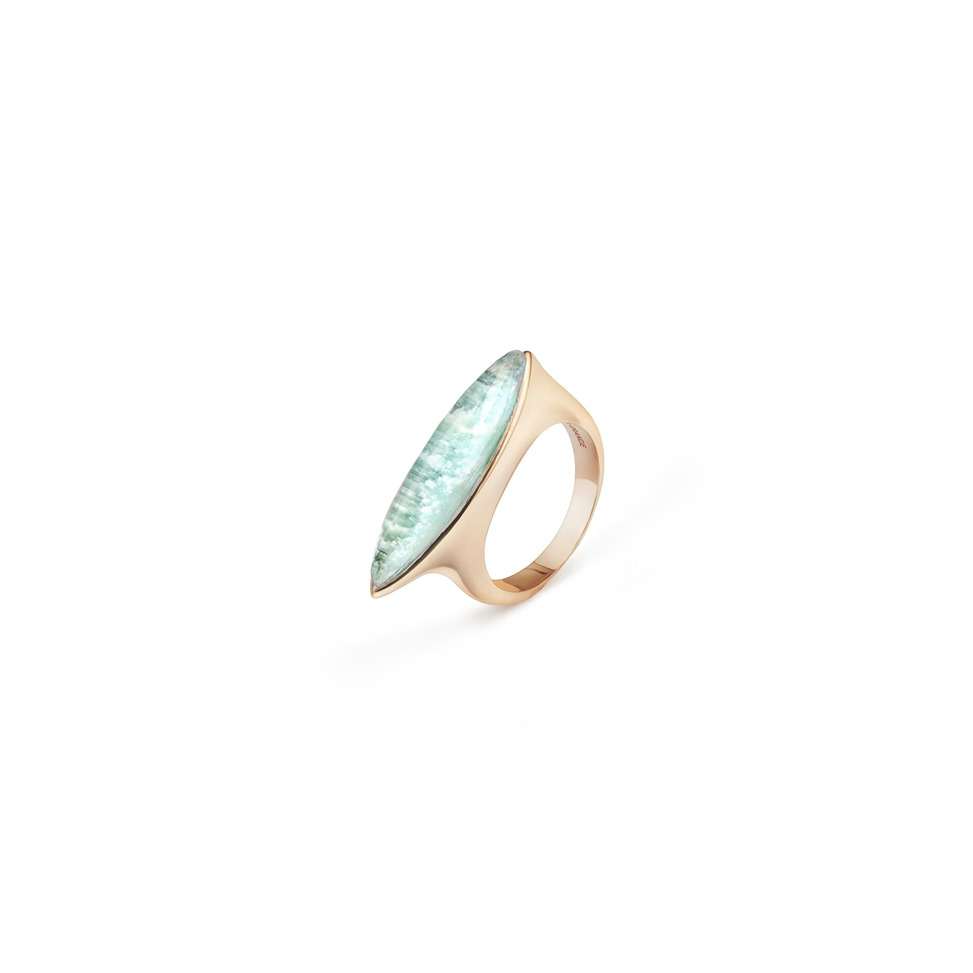 Pink gold 'Navetta' ring with amazonite Rose gold ring with 'doublet' stone
