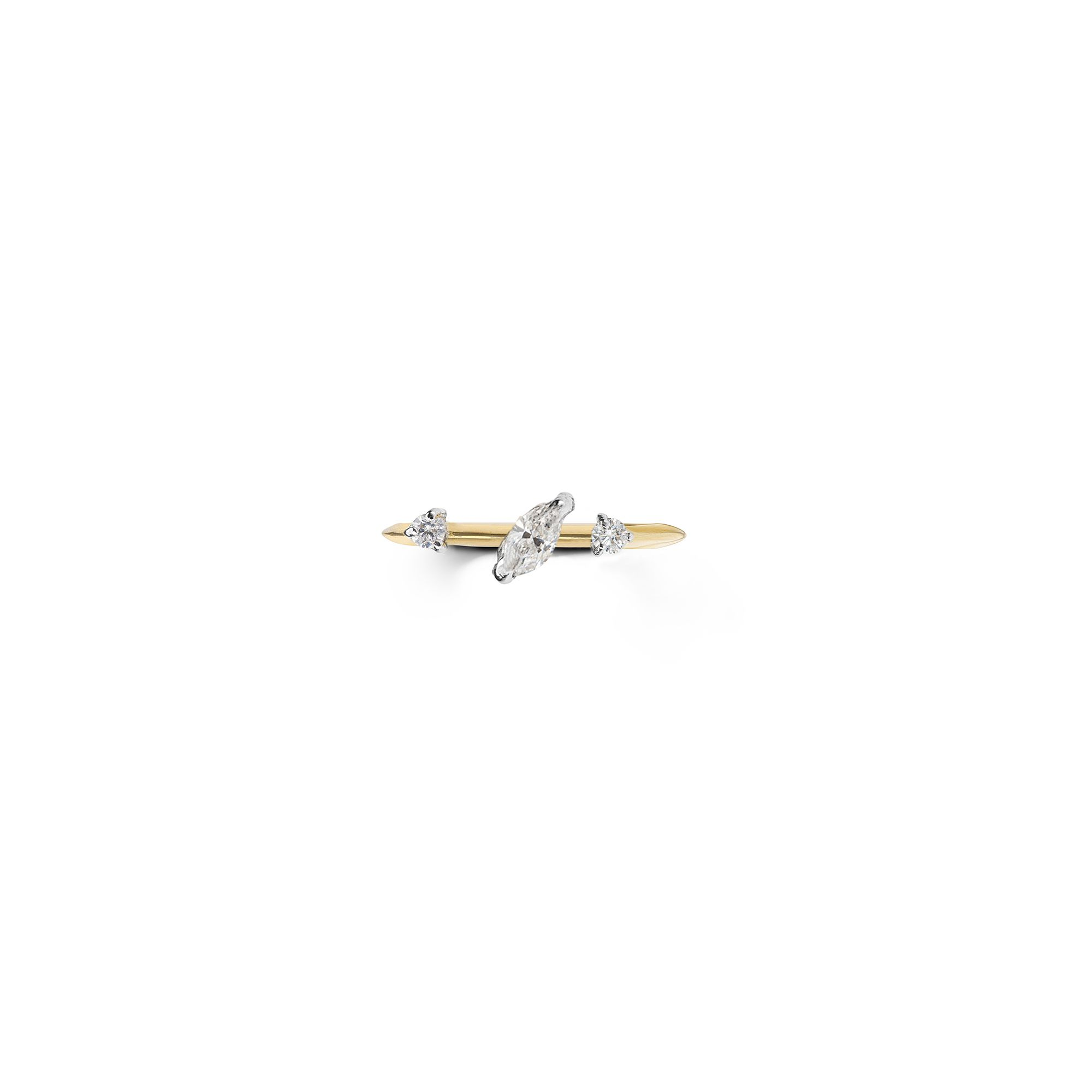 Yellow gold 'Balance' ring with marquise Ring in yellow gold and diamods