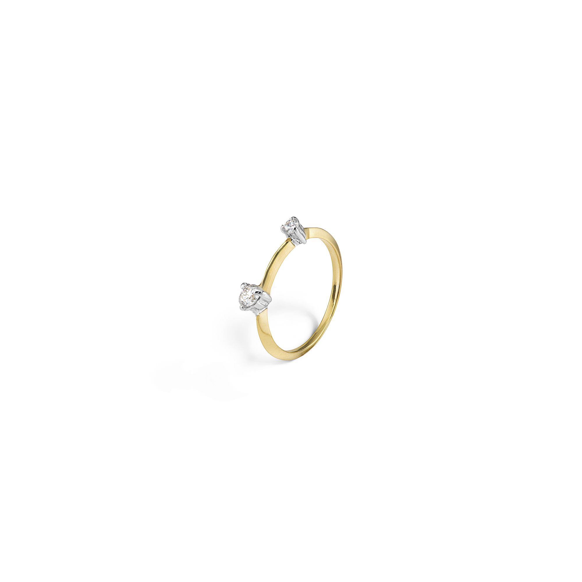 Yellow gold 'Balance' ring with brilliant diamonds Yellow gold ring with diamonds