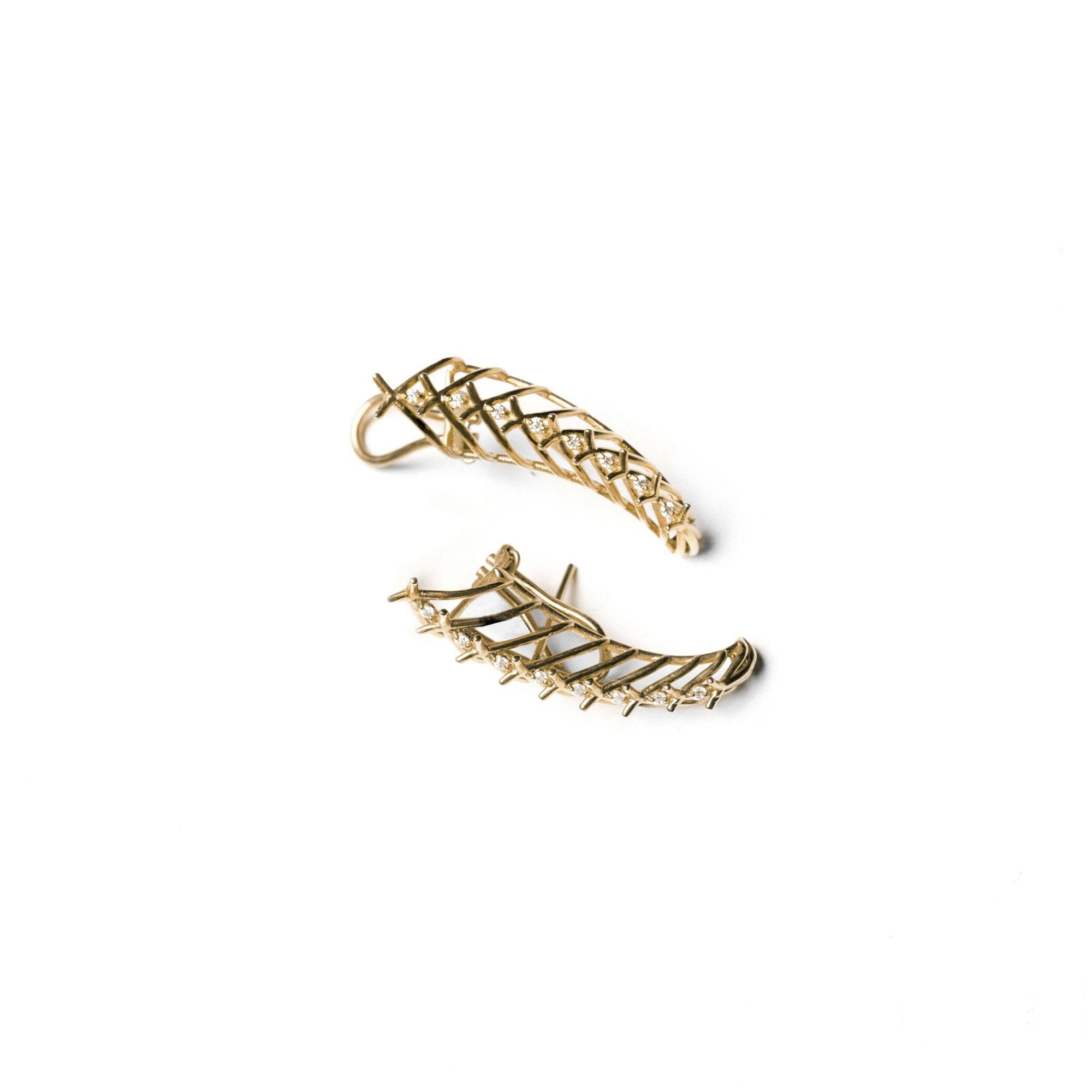 Yellow gold 'Cornucopia' Earrings in yellow gold and diamonds