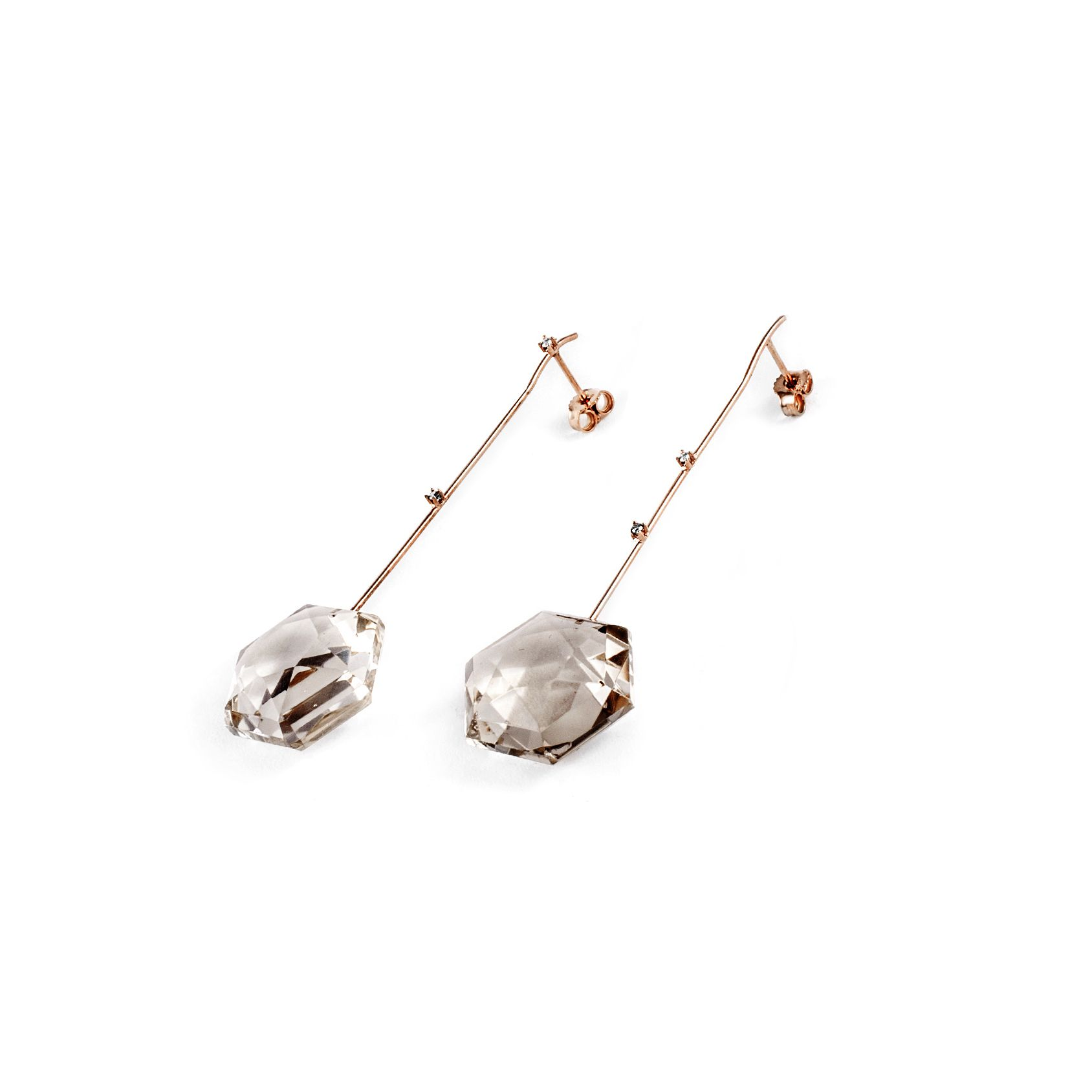 Hook earrings with quartz Yellow gold, diamonds and citrine quartz