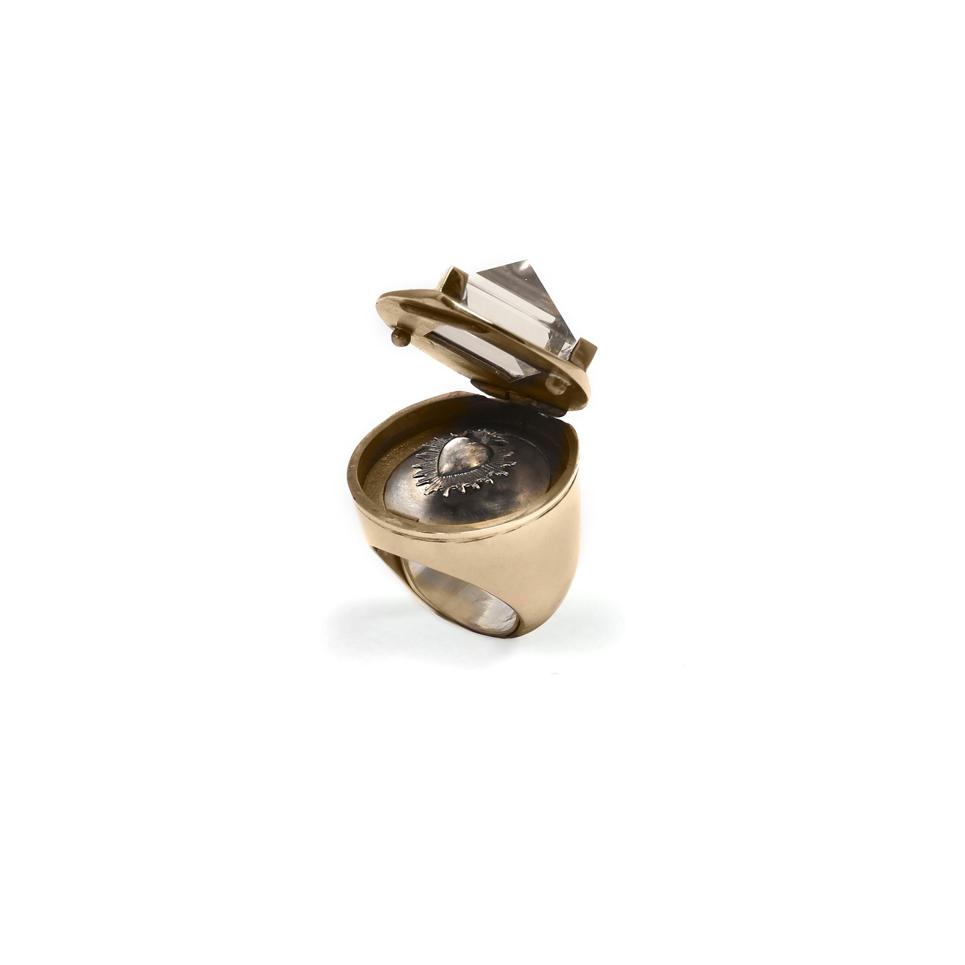 Openable sacred-heart 'Entropia' ring Bronze and silver ring