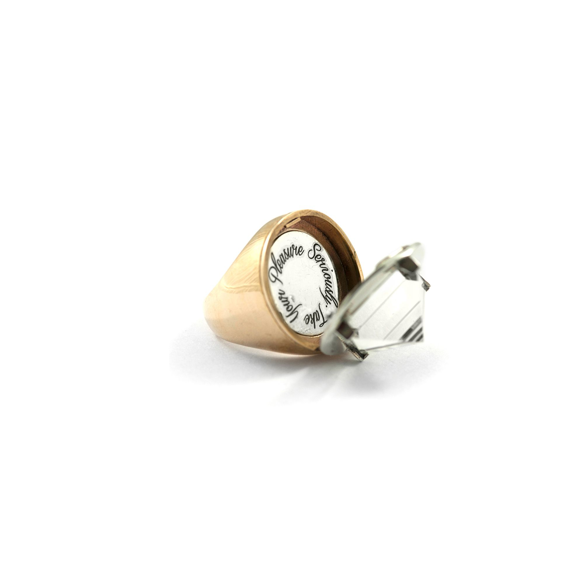 Openable bicolour 'Entropia' ring Ring in bronze and silver with pyramid