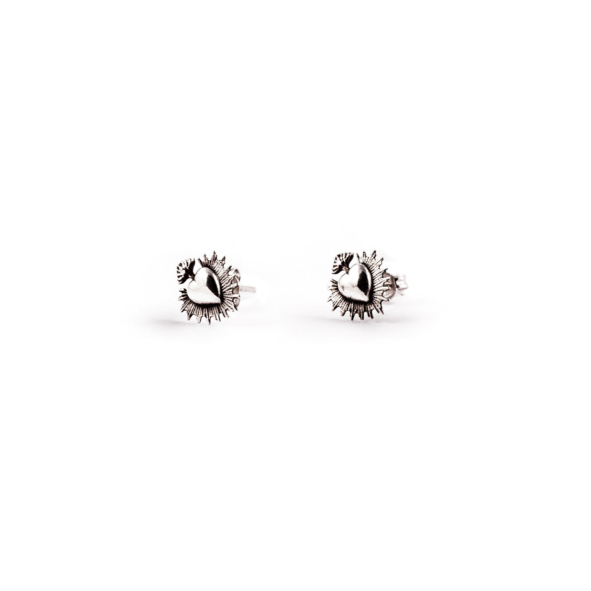 'Sacred Heart' earrings Lobe earrings in silver
